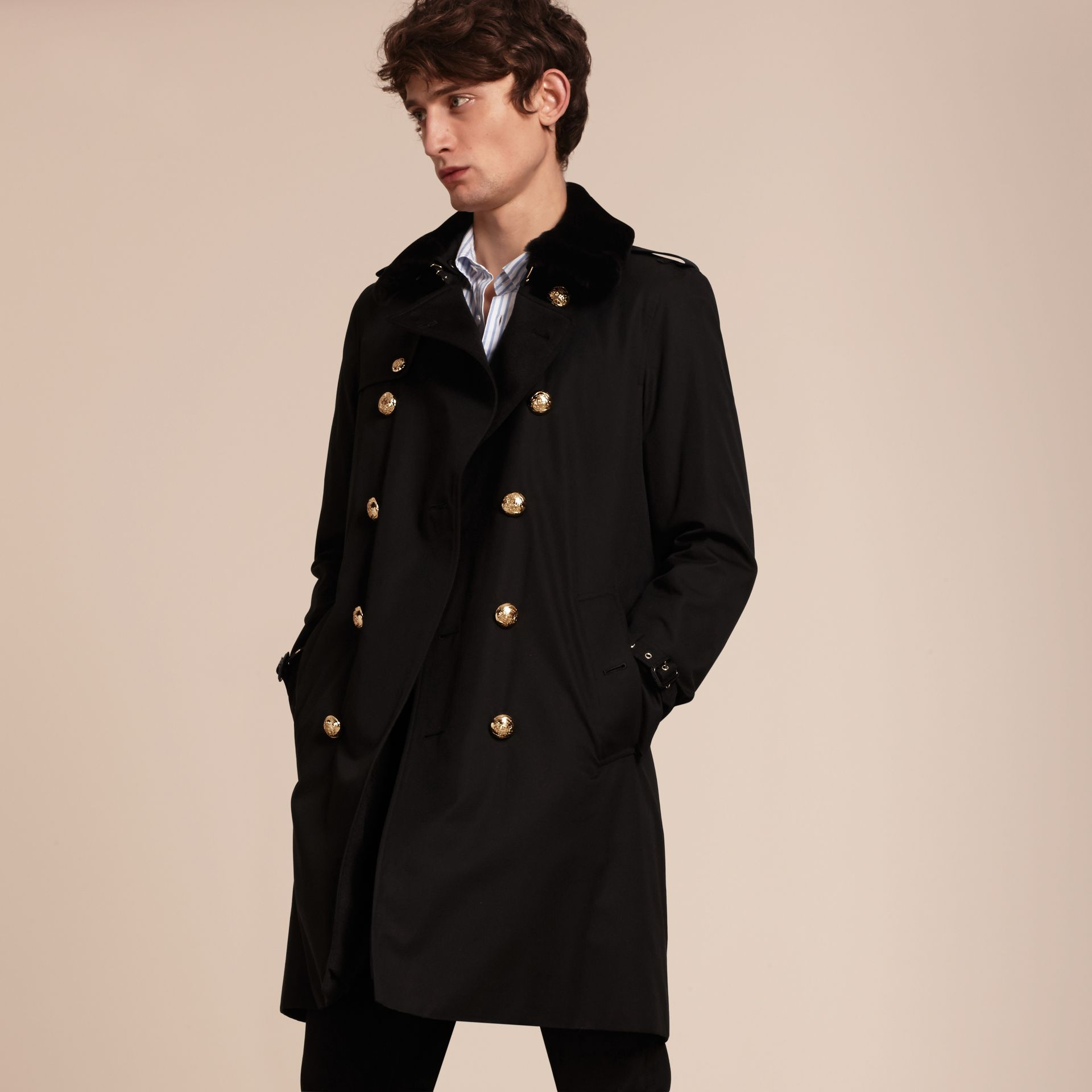 Black Military Trench Coat with Detachable Mink Collar and Warmer - gallery image 7