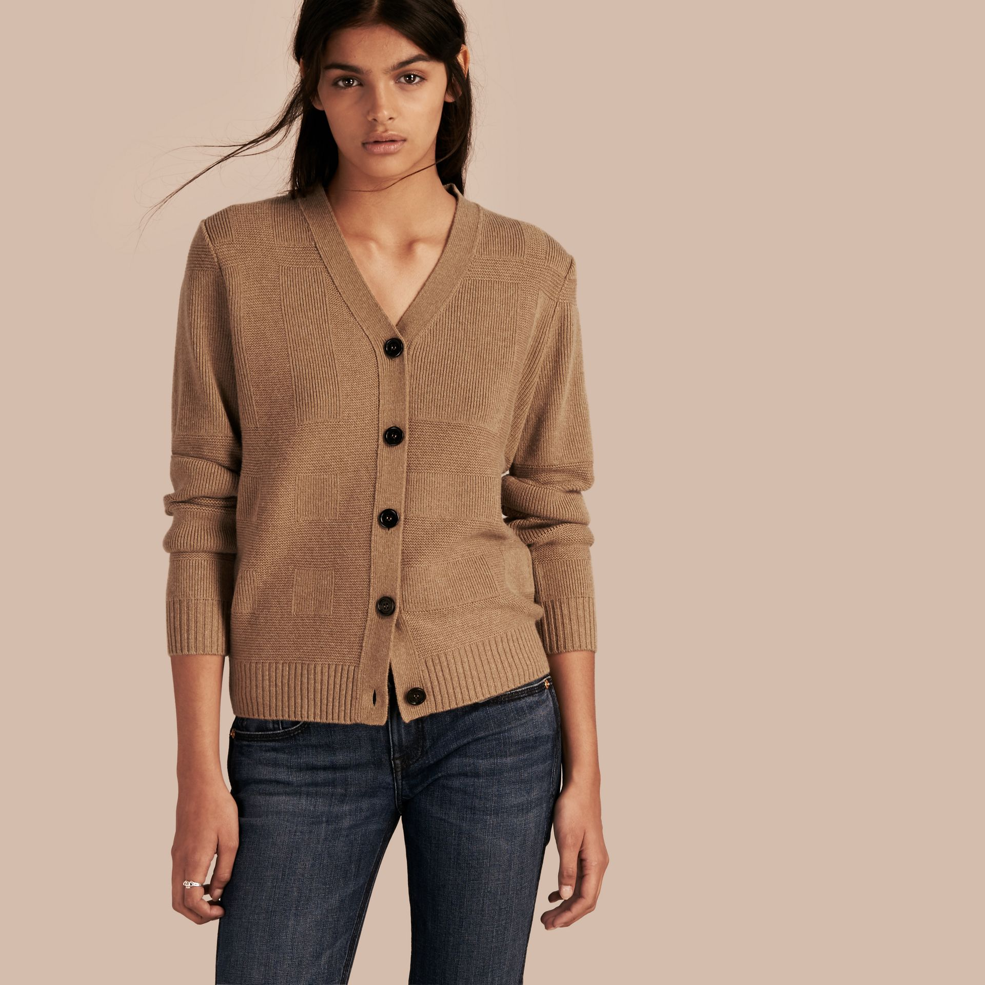 Check-knit Wool Cashmere Cardigan Camel - gallery image 1