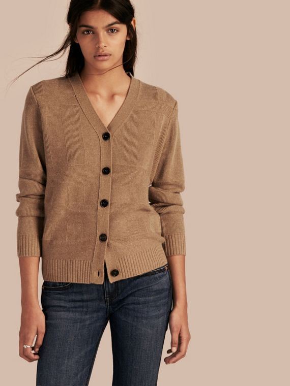 Check-knit Wool Cashmere Cardigan Camel