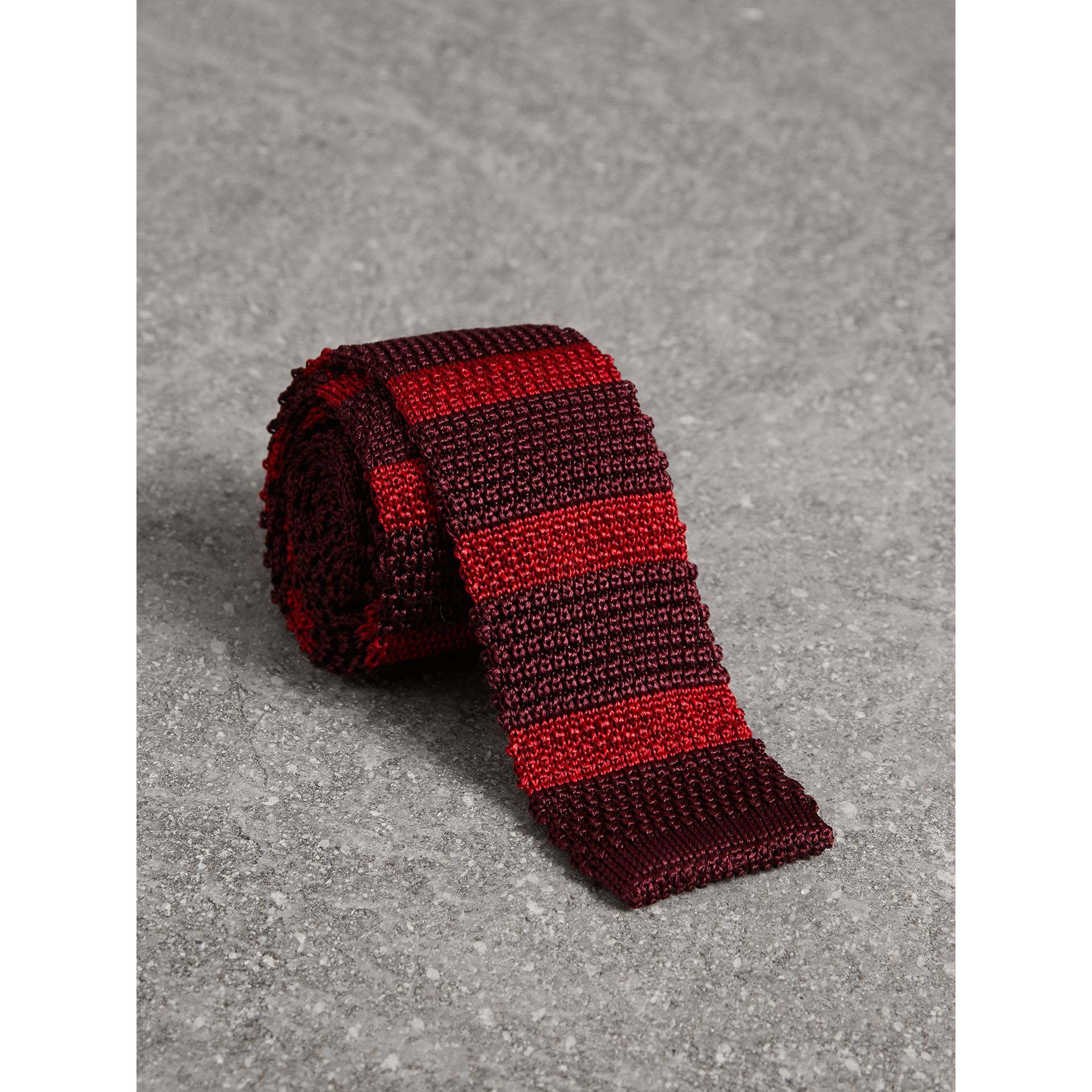 Slim Cut Two-tone Knitted Silk Tie in Burgundy - Men | Burberry - gallery image 1