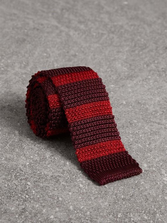 Cravate fine en maille de soie bicolore (Bourgogne)