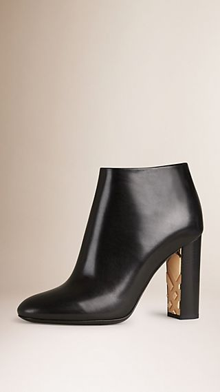 Check Detail Leather Ankle Boots