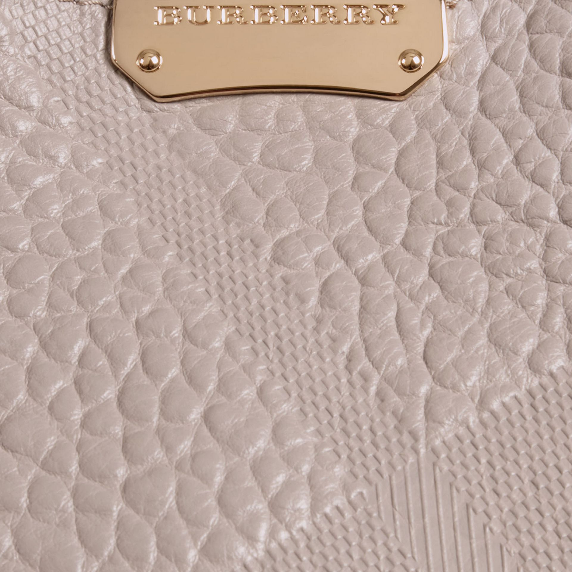 Pale grey The Small Canter in Check Embossed Leather Pale Grey - gallery image 2