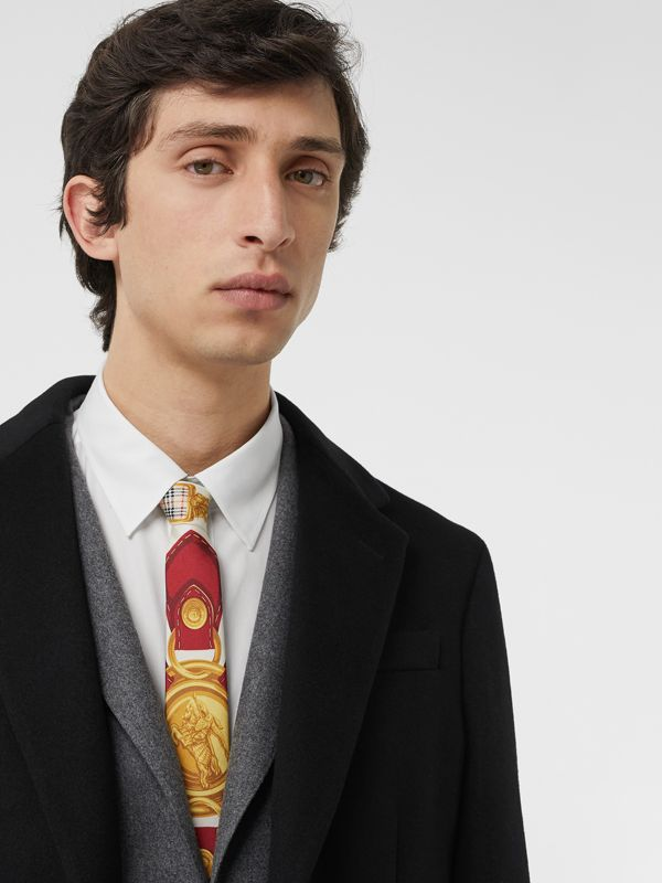Slim Cut Archive Scarf Print Silk Tie in Burgundy - Men | Burberry Singapore - cell image 2