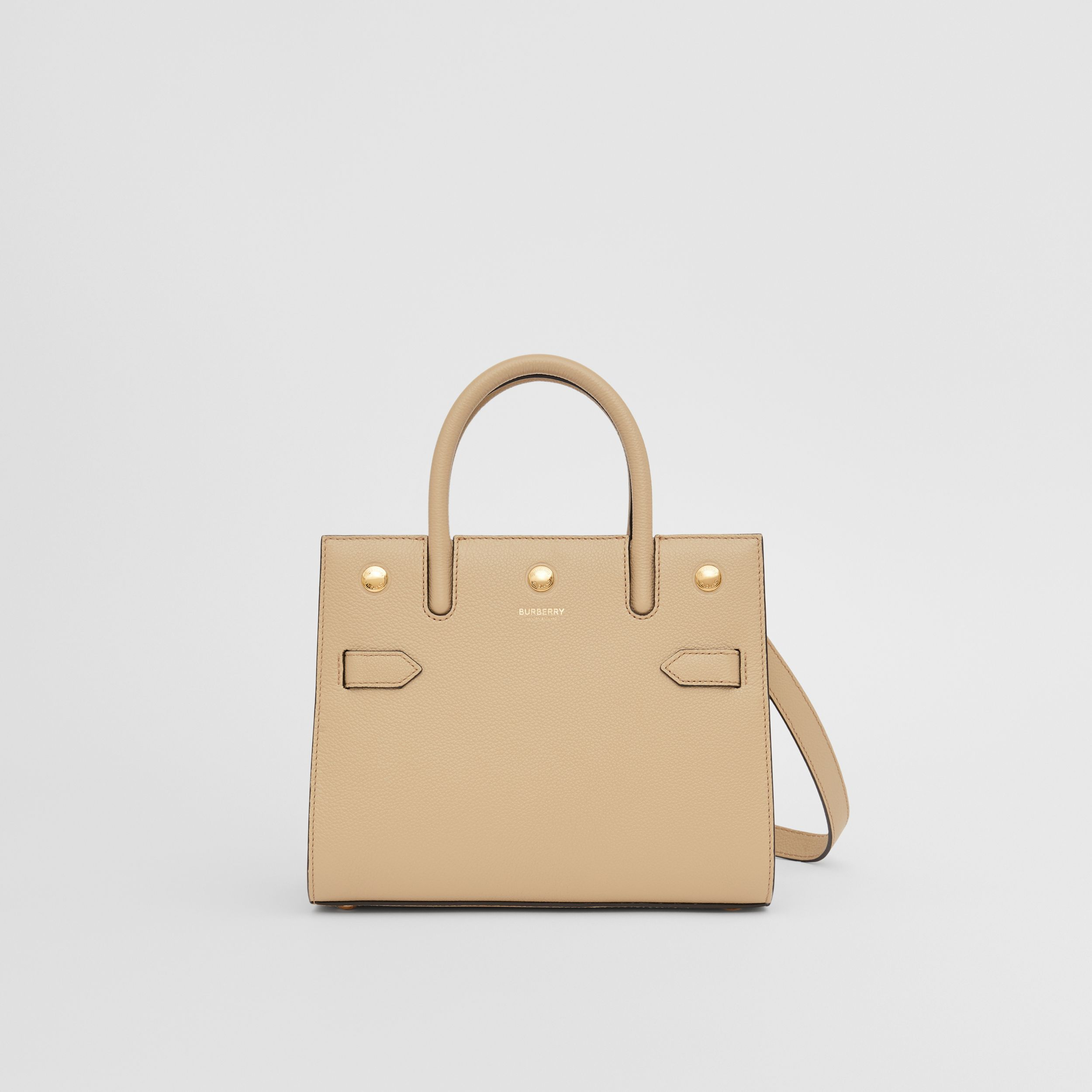 Mini Leather Two-handle Title Bag in Light Beige - Women | Burberry - 1