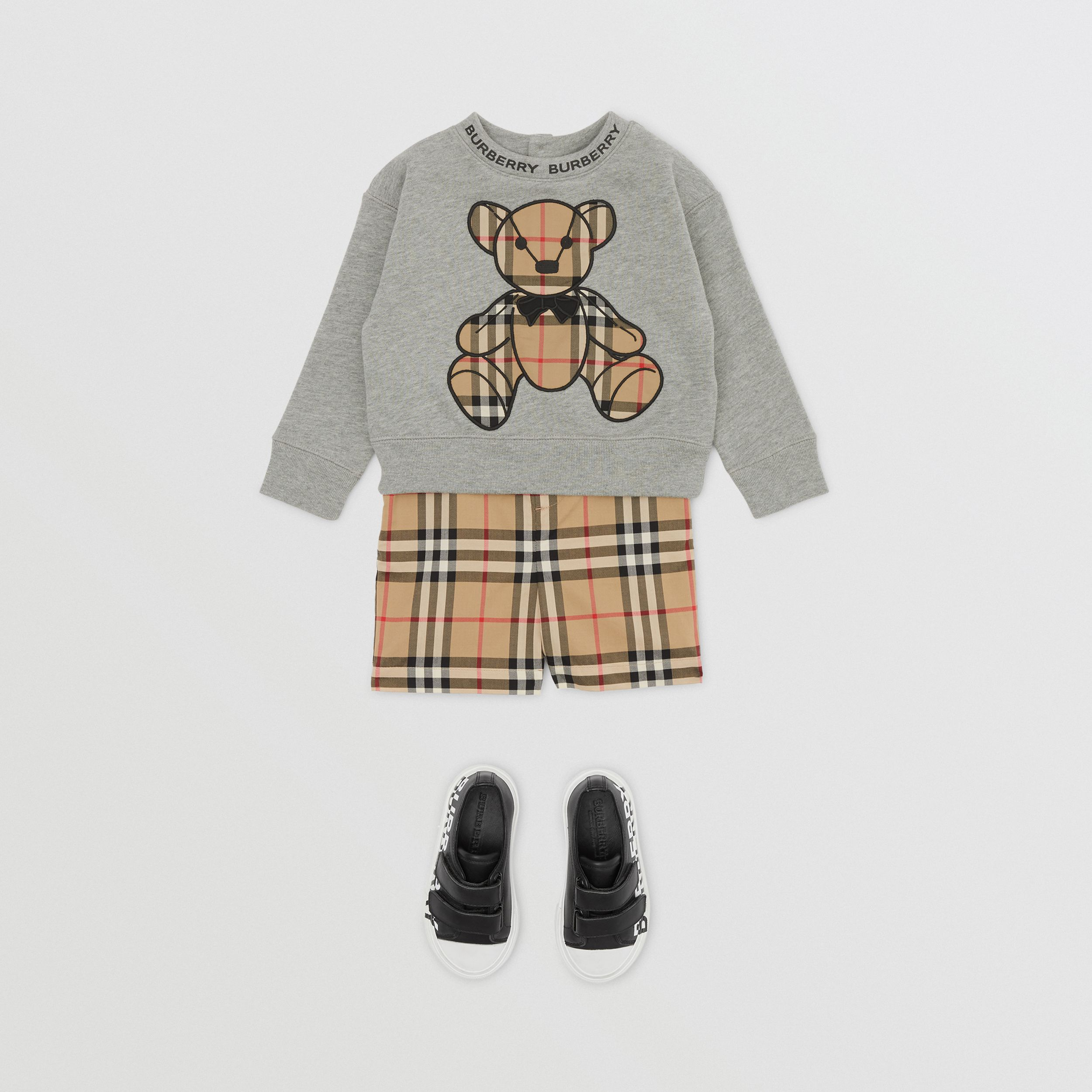Thomas Bear Appliqué Cotton Sweatshirt in Grey Melange - Children | Burberry - 4