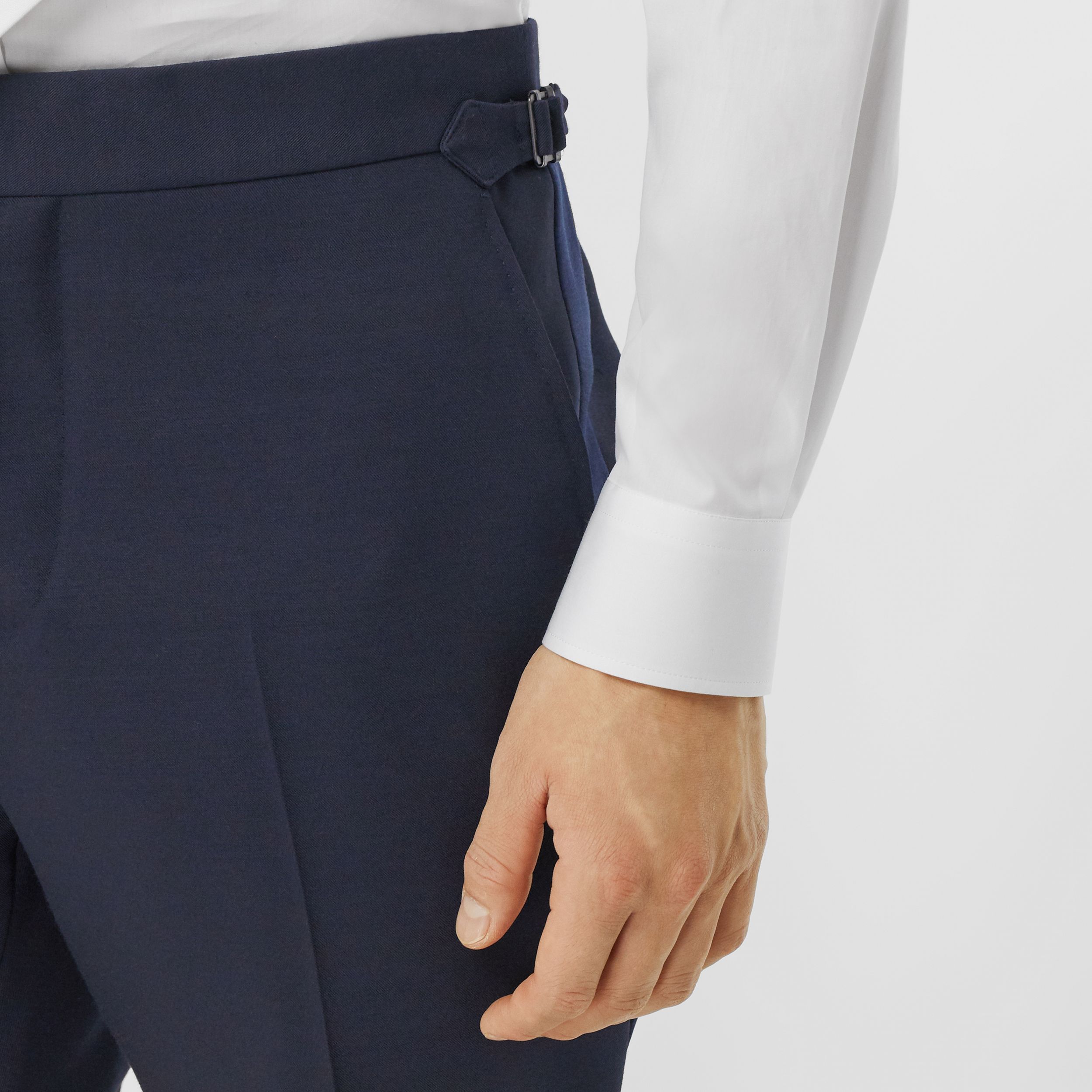 Classic Fit Wool Silk Blend Tailored Trousers in Navy - Men | Burberry - 2