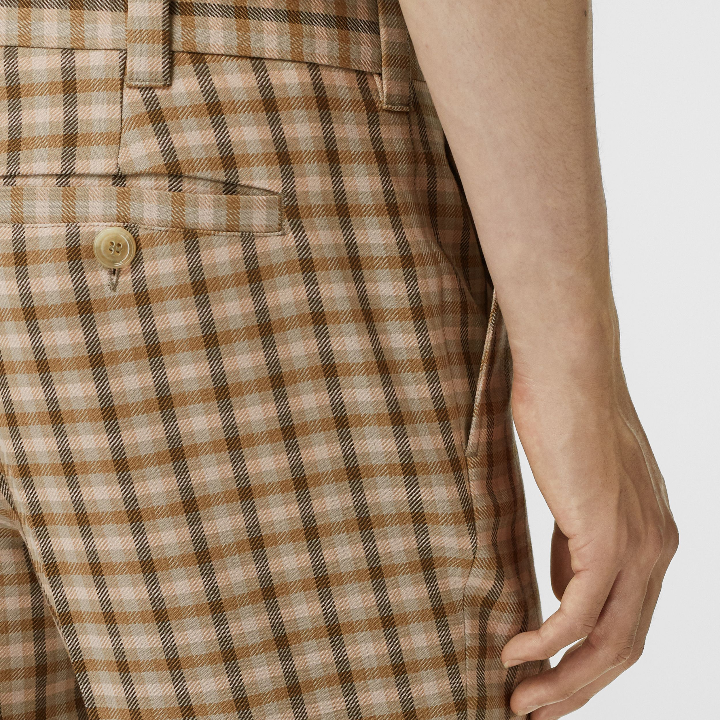 Gingham Wool Tailored Trousers in Soft Fawn - Men | Burberry - 2