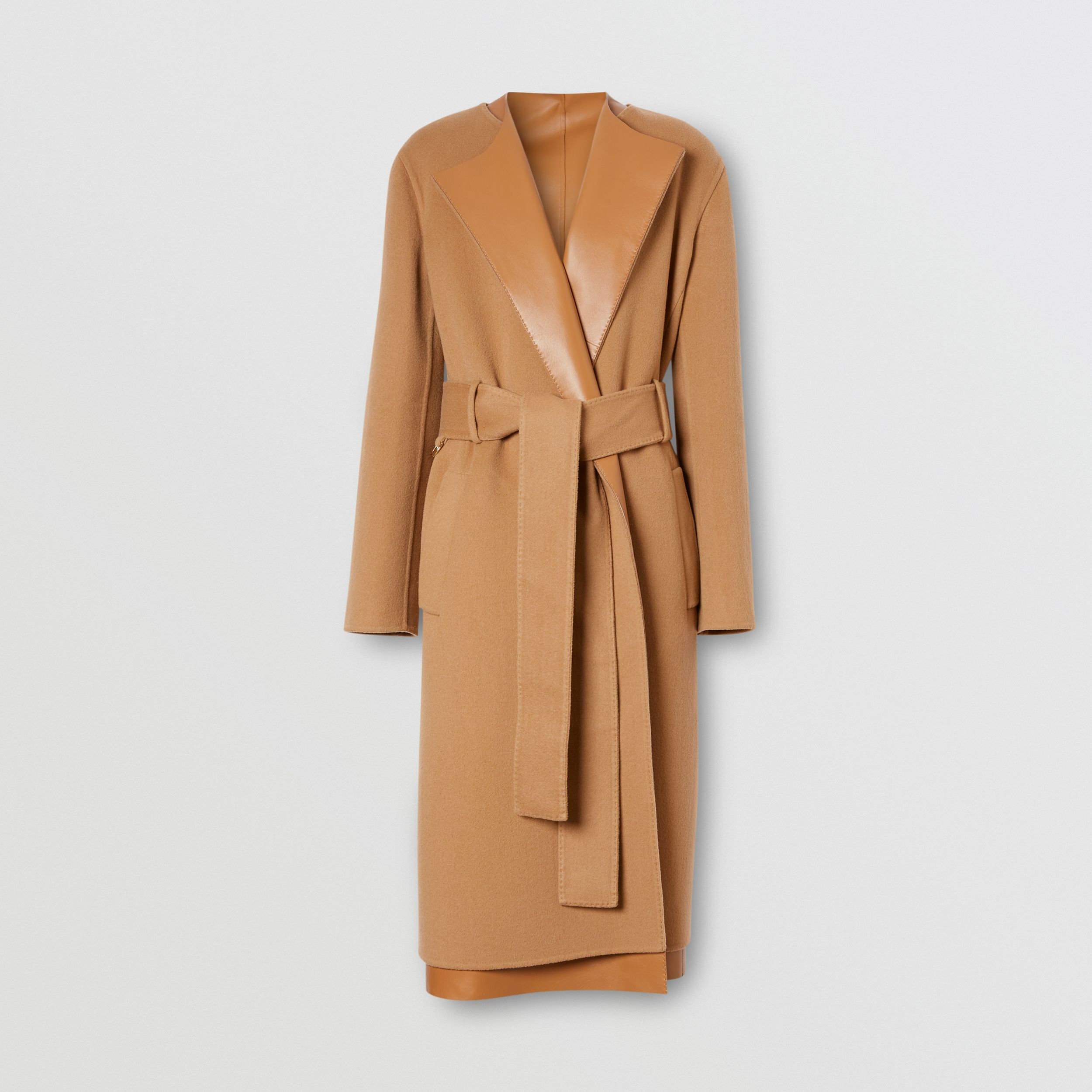 Cappotto a vestaglia double face in cashmere e pelle di agnello (Cammello) - Donna | Burberry - 4