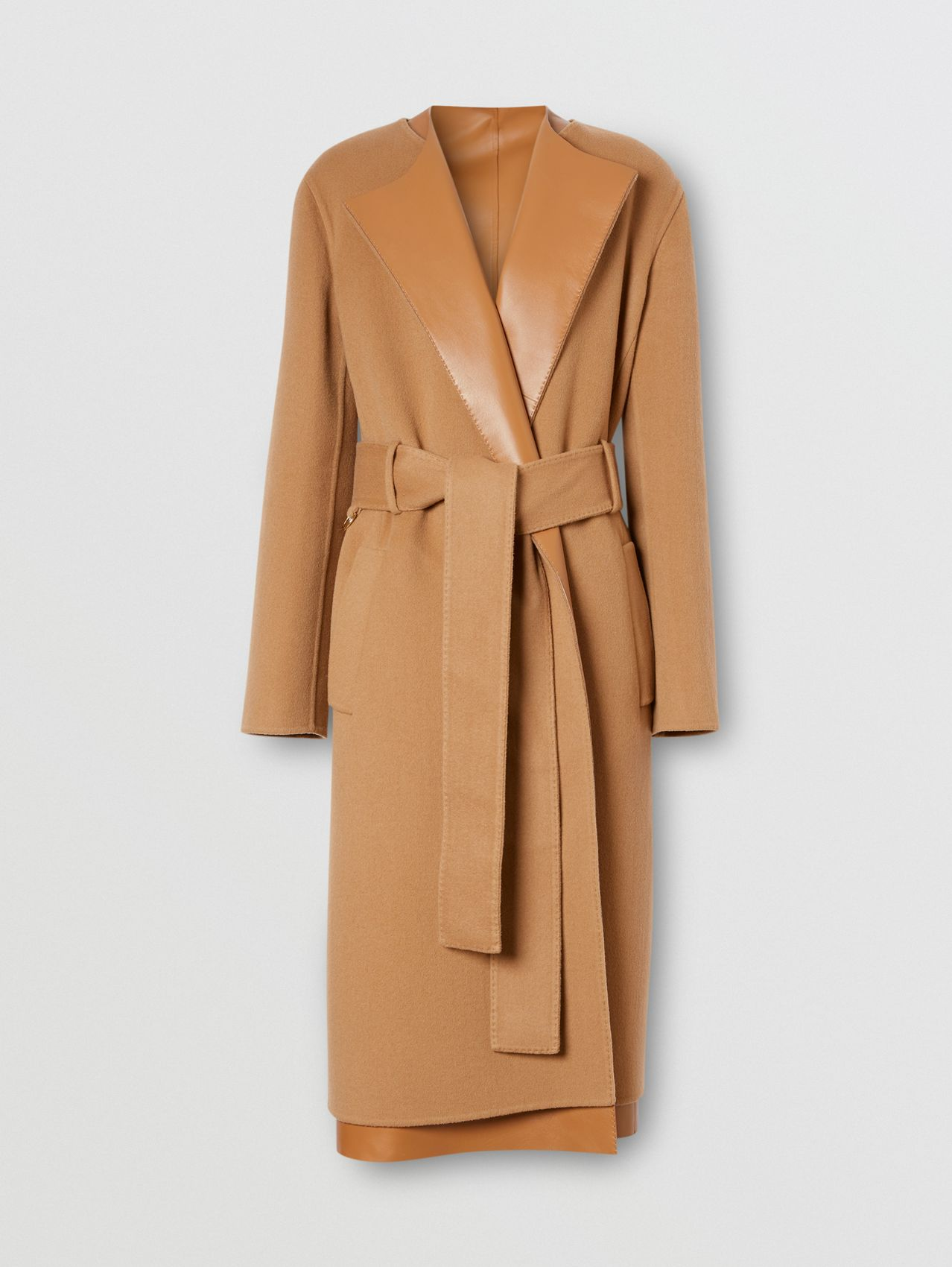Double-faced Cashmere and Lambskin Wrap Coat in Camel