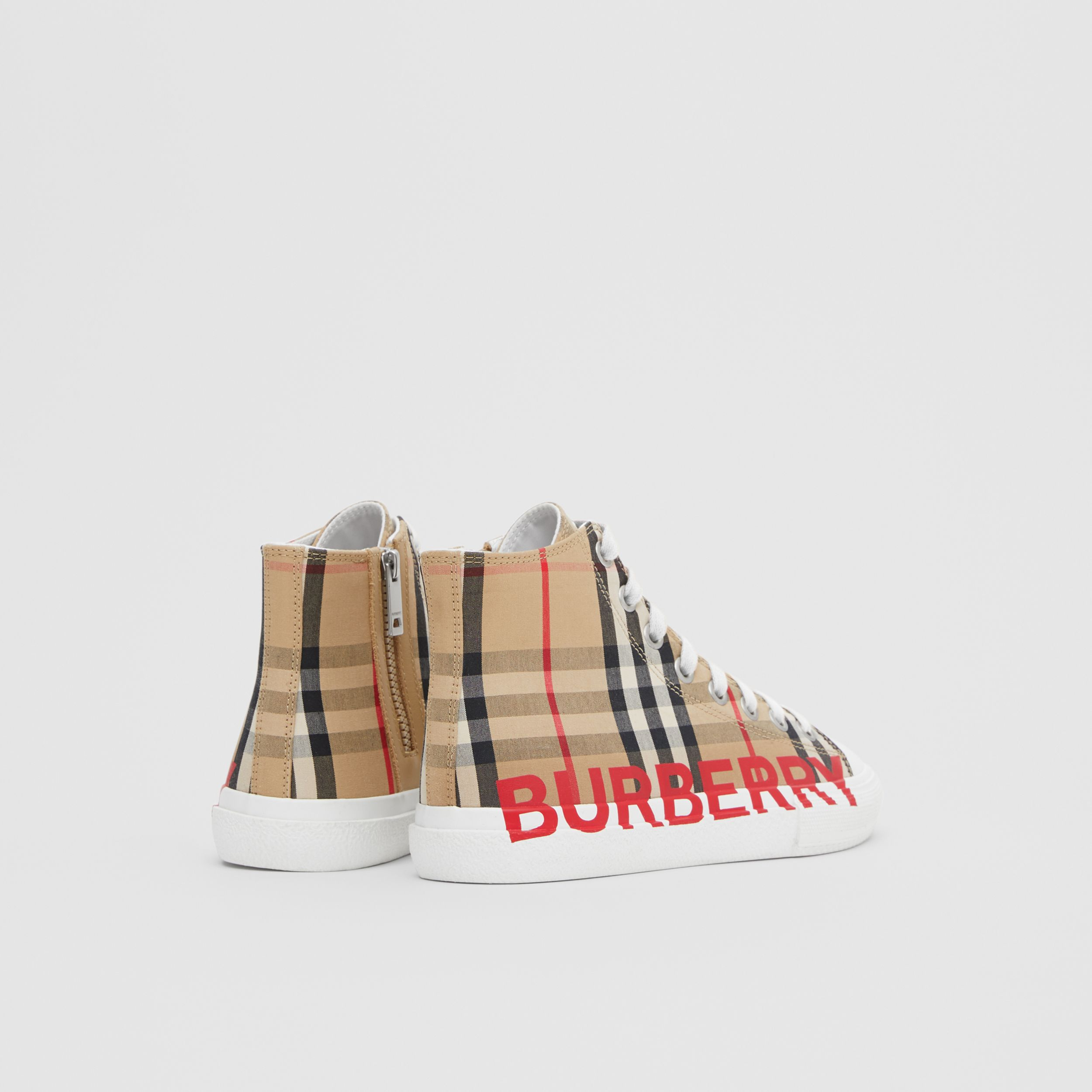 Logo Print Vintage Check High-top Sneakers in Archive Beige - Children | Burberry - 3