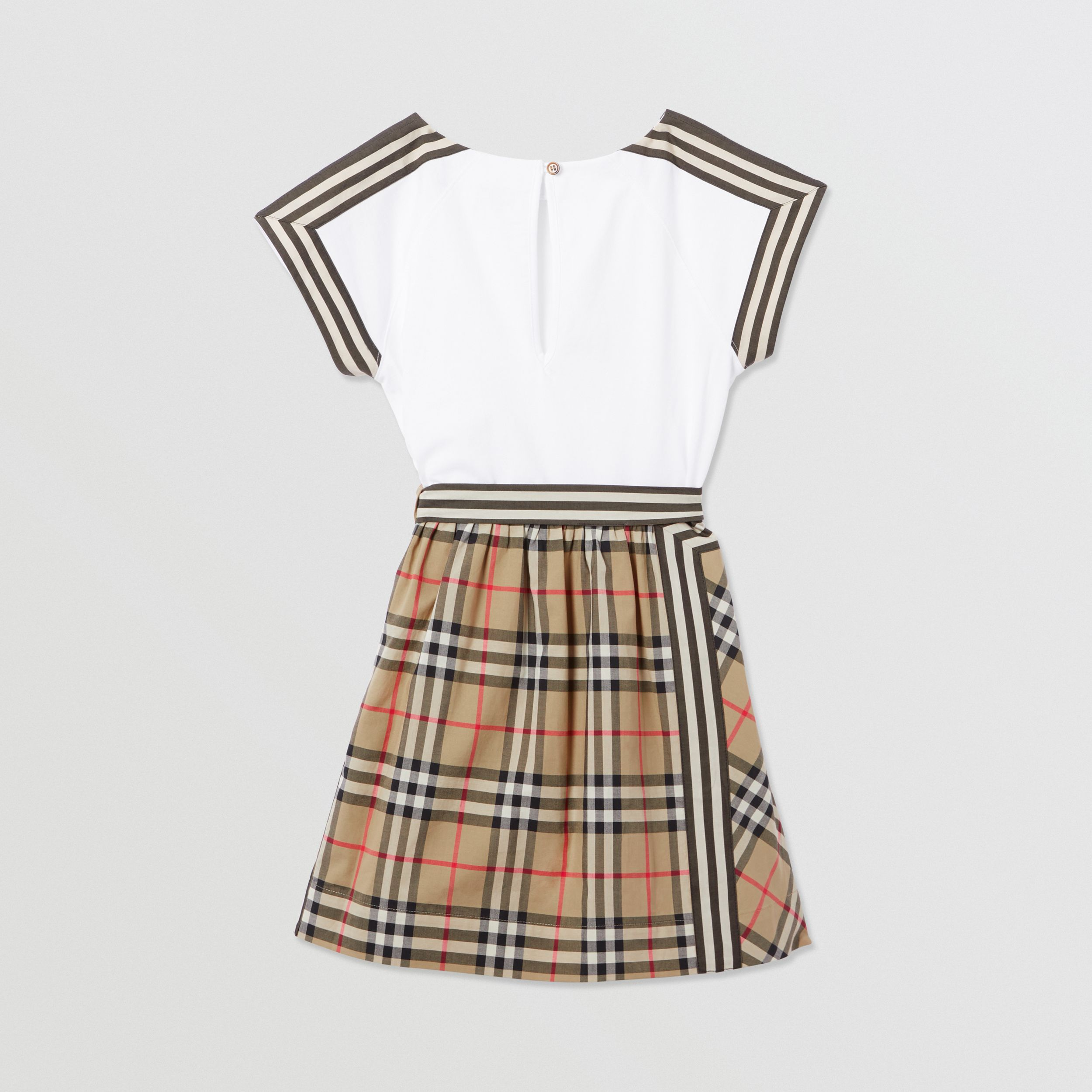 Vintage Check Detail Cotton Dress in Archive Beige | Burberry - 4