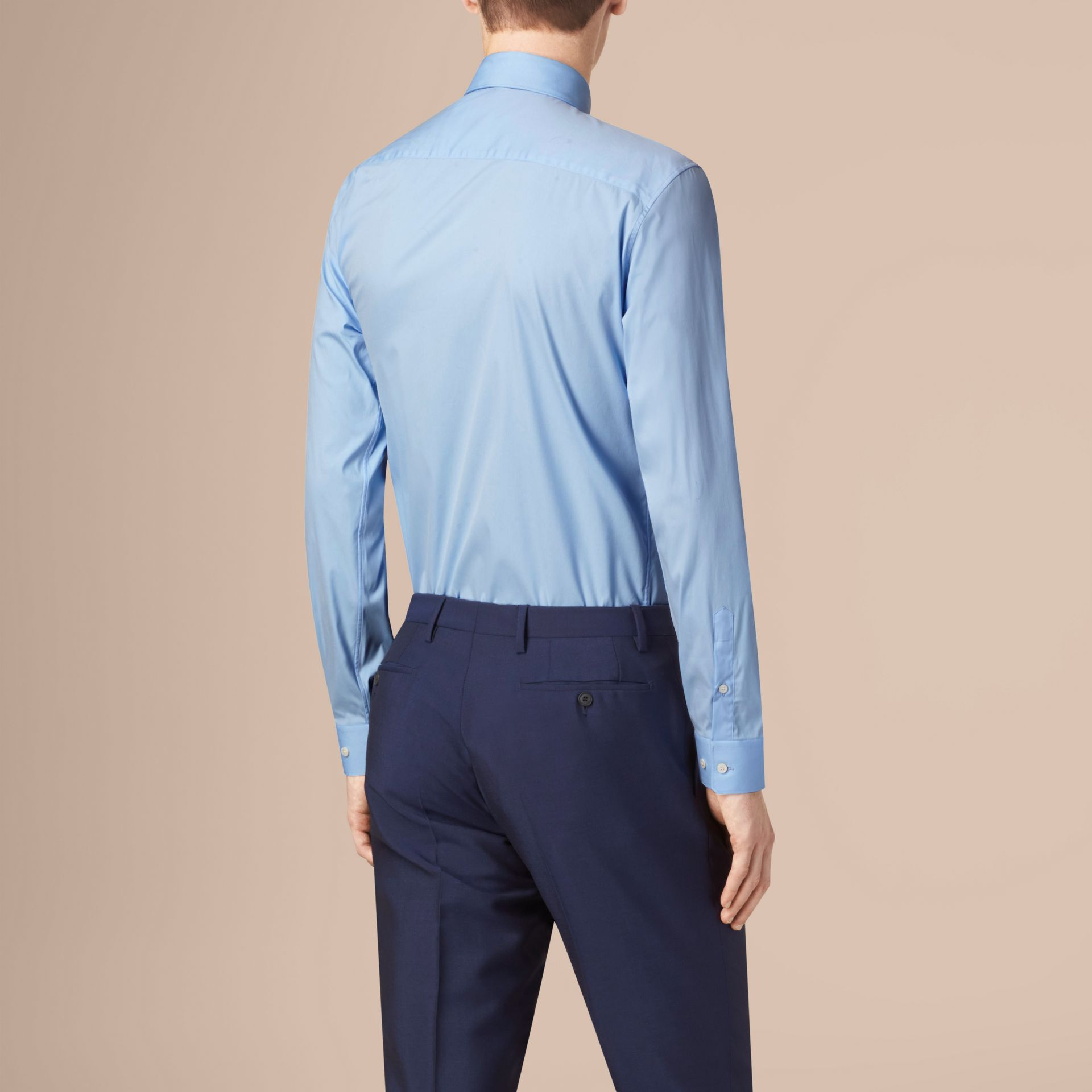 Modern Fit Button-down Collar Stretch Cotton Shirt in City Blue - gallery image 3
