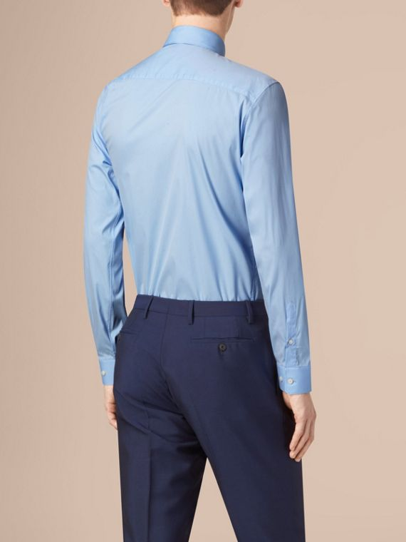 Modern Fit Button-down Collar Stretch Cotton Shirt in City Blue - cell image 2