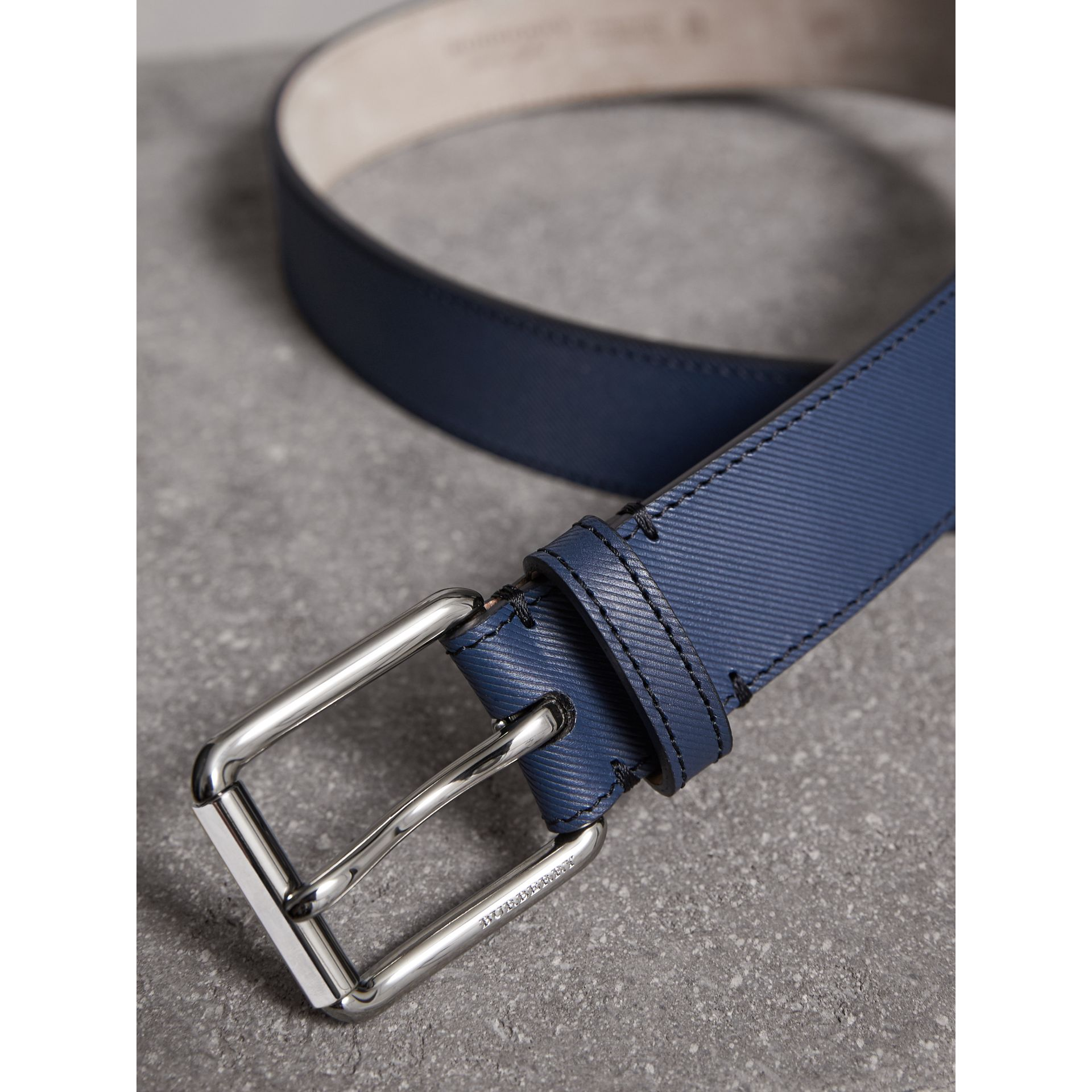 Trench Leather Belt in Ink Blue - Men | Burberry - gallery image 2