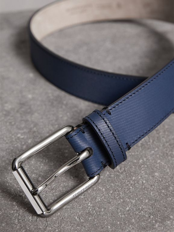 Trench Leather Belt in Ink Blue - Men | Burberry - cell image 1