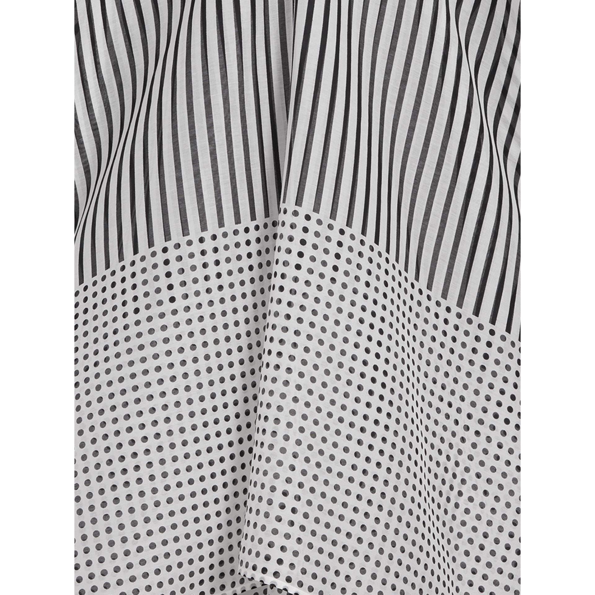 Stripe and Spot Print Cotton Silk Kaftan in Black - Women | Burberry - gallery image 1