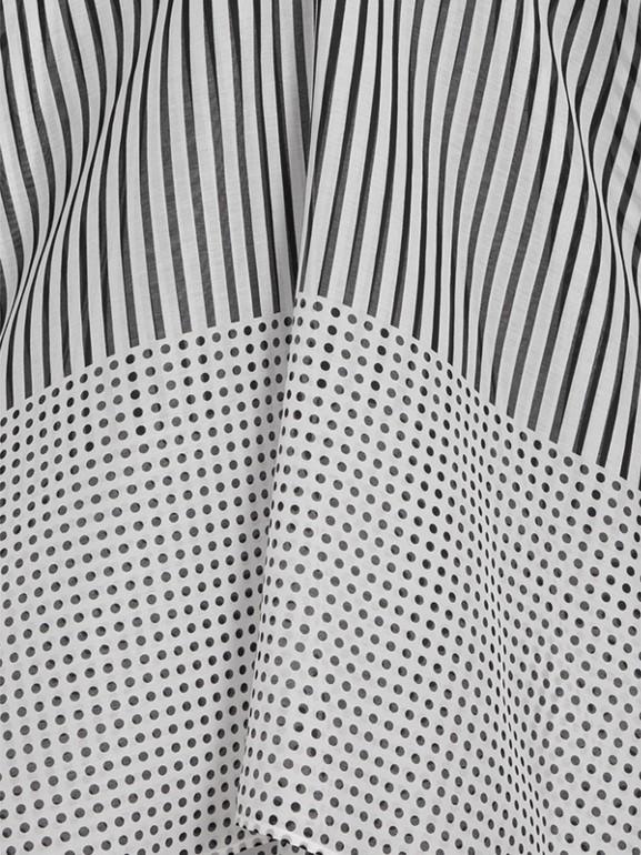 Caftano in cotone e seta con stampa a righe e pois (Nero) - Donna | Burberry - cell image 1