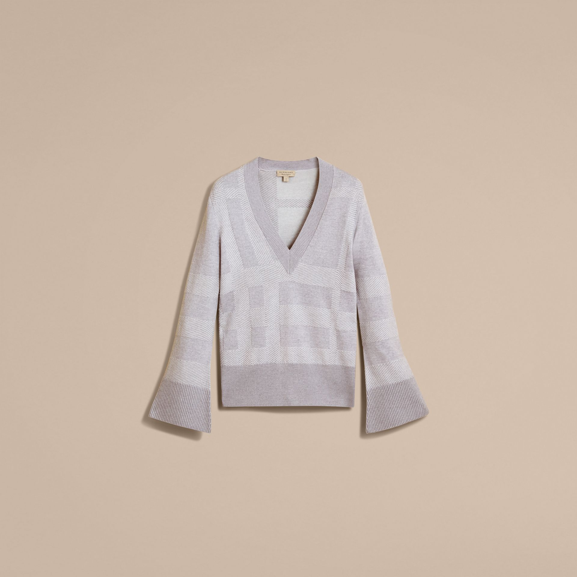 Check Merino Wool Silk Cotton V-neck Sweater in Pale Grey Melange - Women | Burberry Australia - gallery image 4