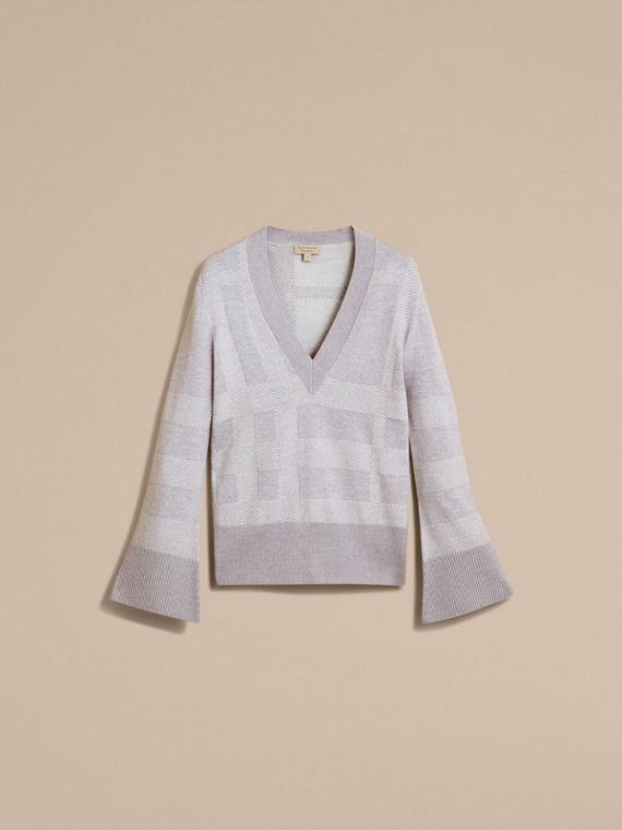 Check Merino Wool Silk Cotton V-neck Sweater in Pale Grey Melange - Women | Burberry Hong Kong - cell image 3
