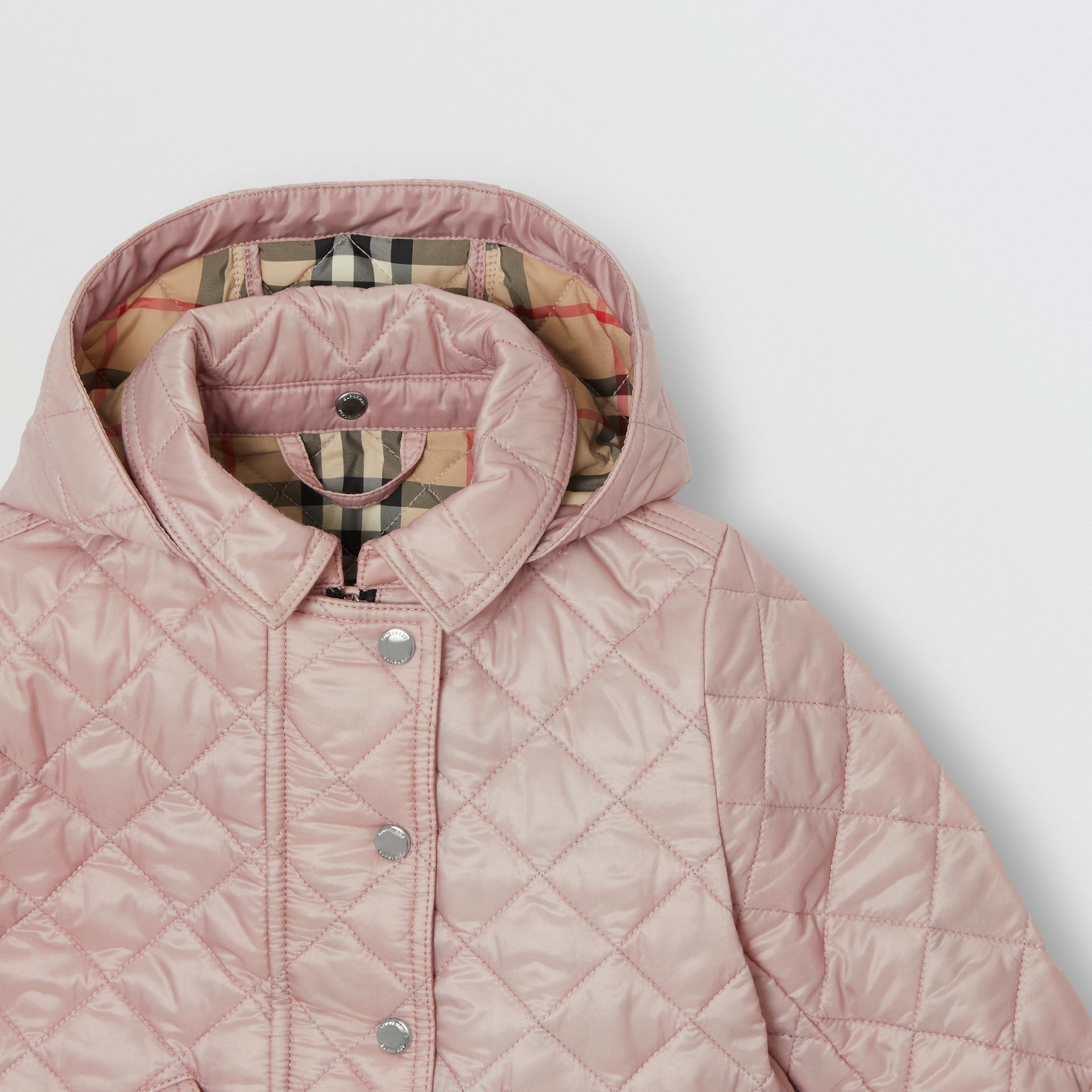 Detachable Hood Diamond Quilted Jacket in Ice Pink - Children | Burberry - gallery image 4