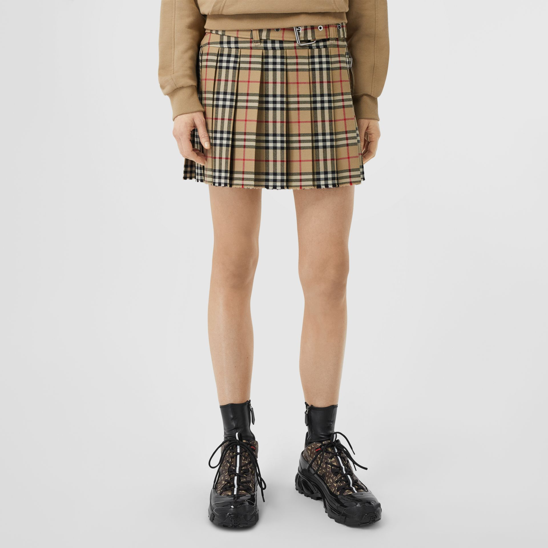 Vintage Check Wool Twill Kilt in Archive Beige - Women | Burberry - gallery image 5