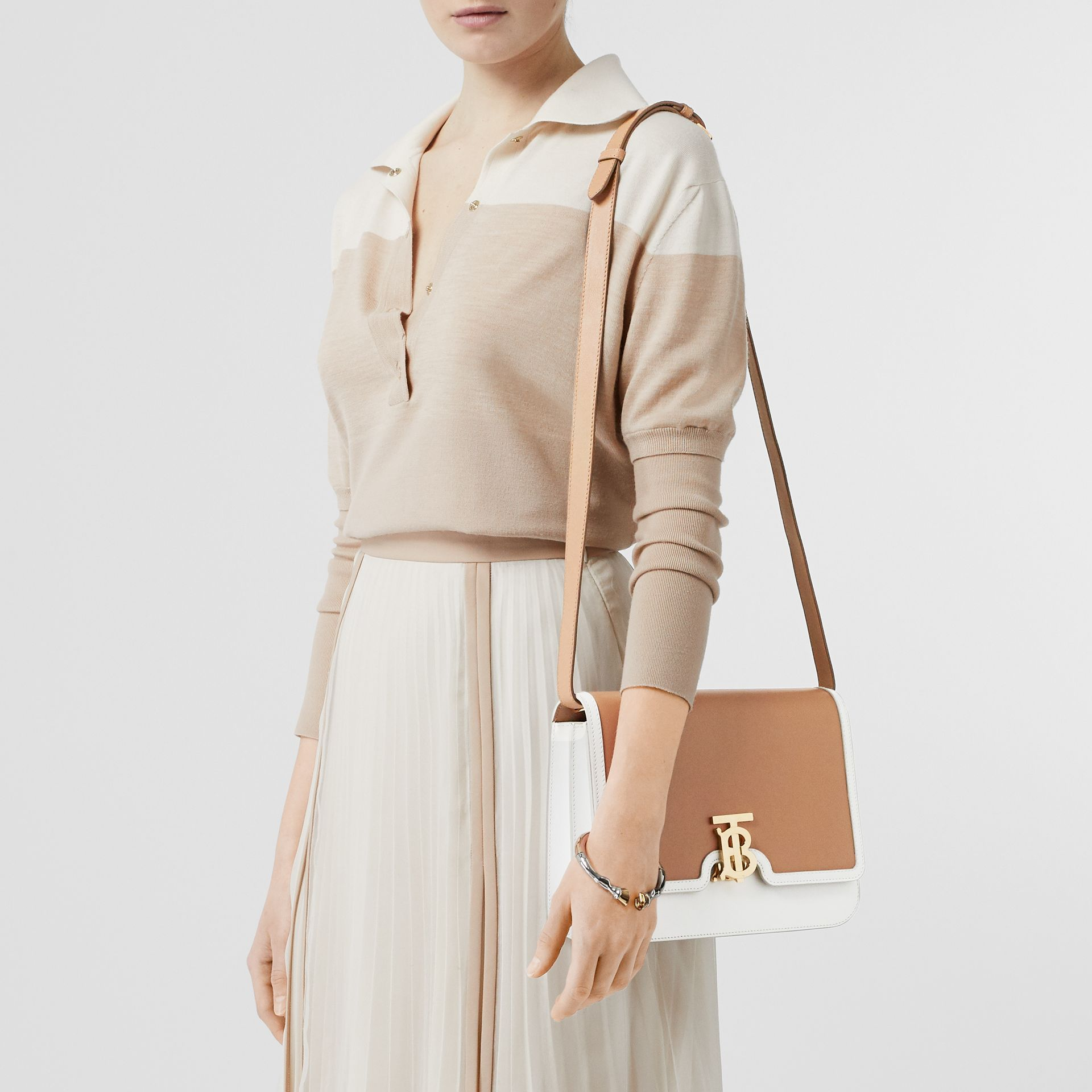 Medium Two-tone Leather TB Bag in Chalk White/light Camel - Women | Burberry - gallery image 2
