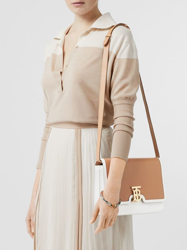 Medium Two-tone Leather TB Bag in Chalk White/light Camel - Women | Burberry - cell image 2