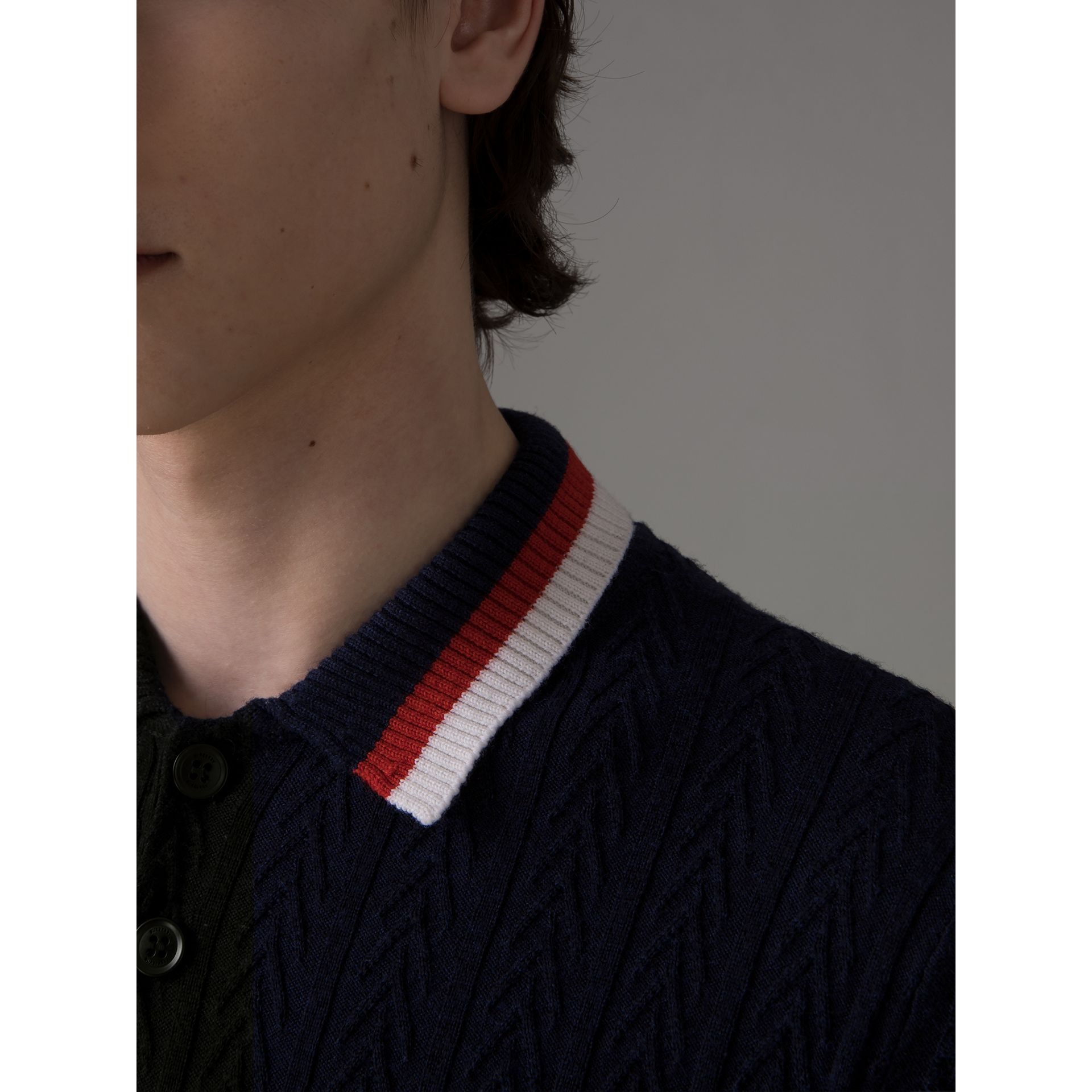 Stripe Detail Cable Knit Wool Polo Shirt in Navy - Men | Burberry - gallery image 1