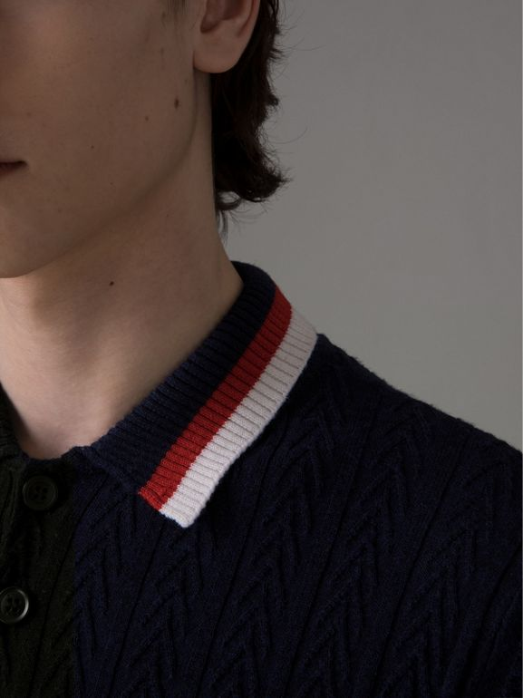 Stripe Detail Cable Knit Wool Polo Shirt in Navy - Men | Burberry - cell image 1