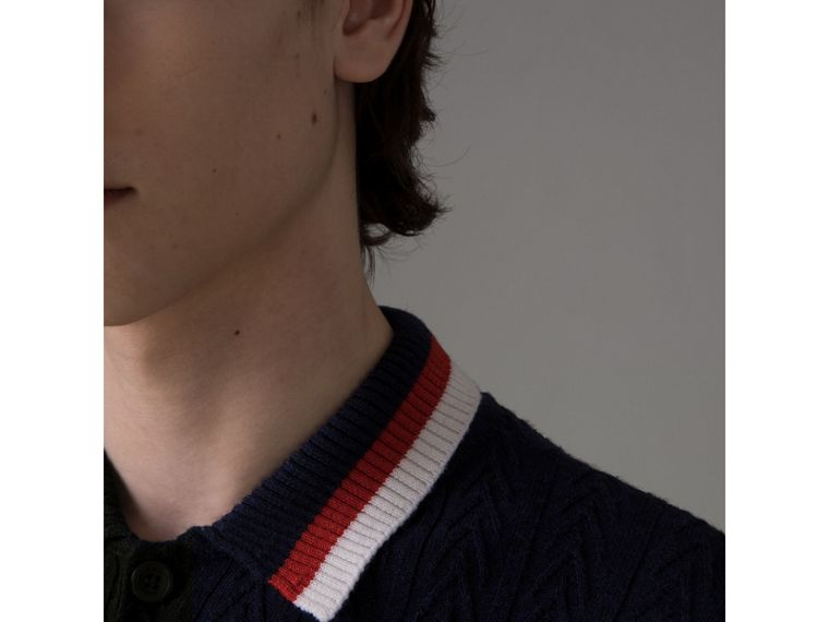 Stripe Detail Cable Knit Wool Polo Shirt in Navy - Men | Burberry United Kingdom - cell image 1