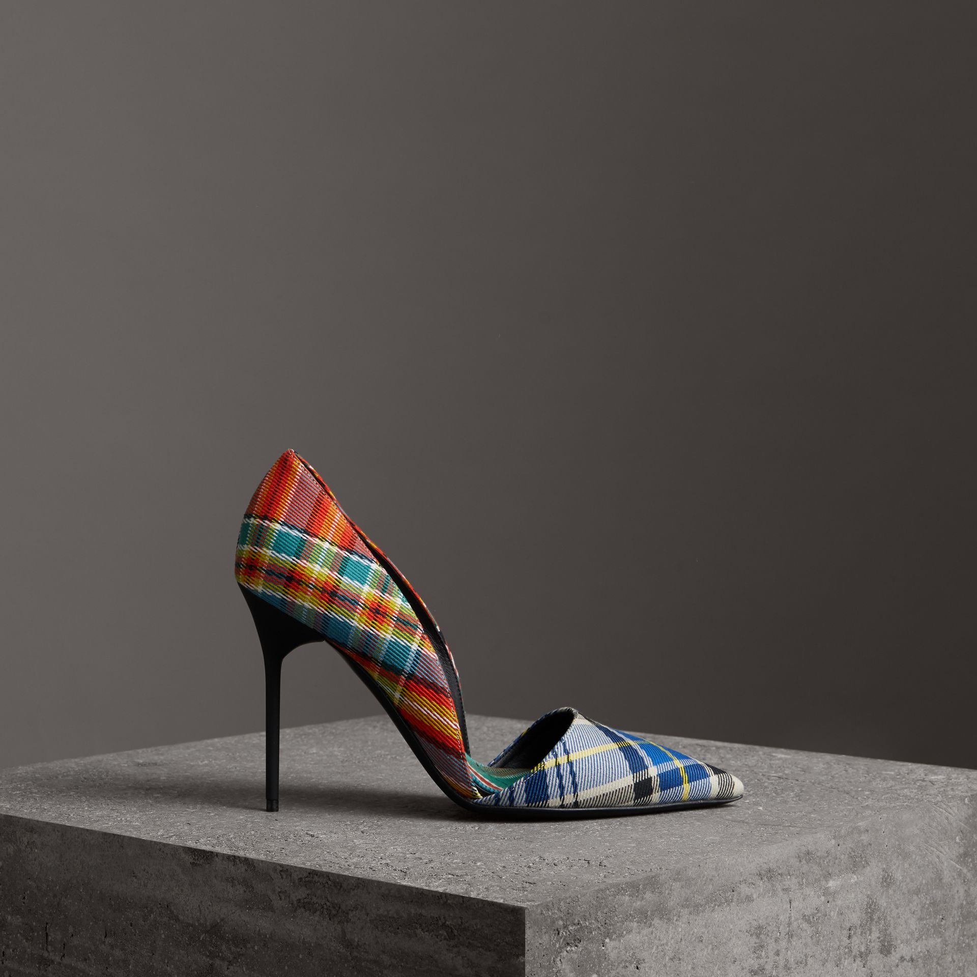 Escarpins en coton tartan (Orange Coquelicot) - Femme | Burberry - photo de la galerie 0