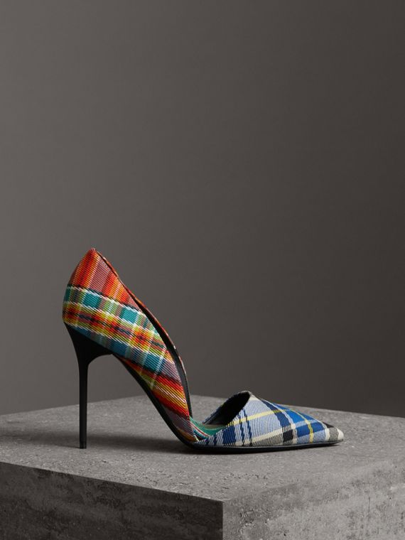 Tartan Cotton Pumps in Poppy Orange