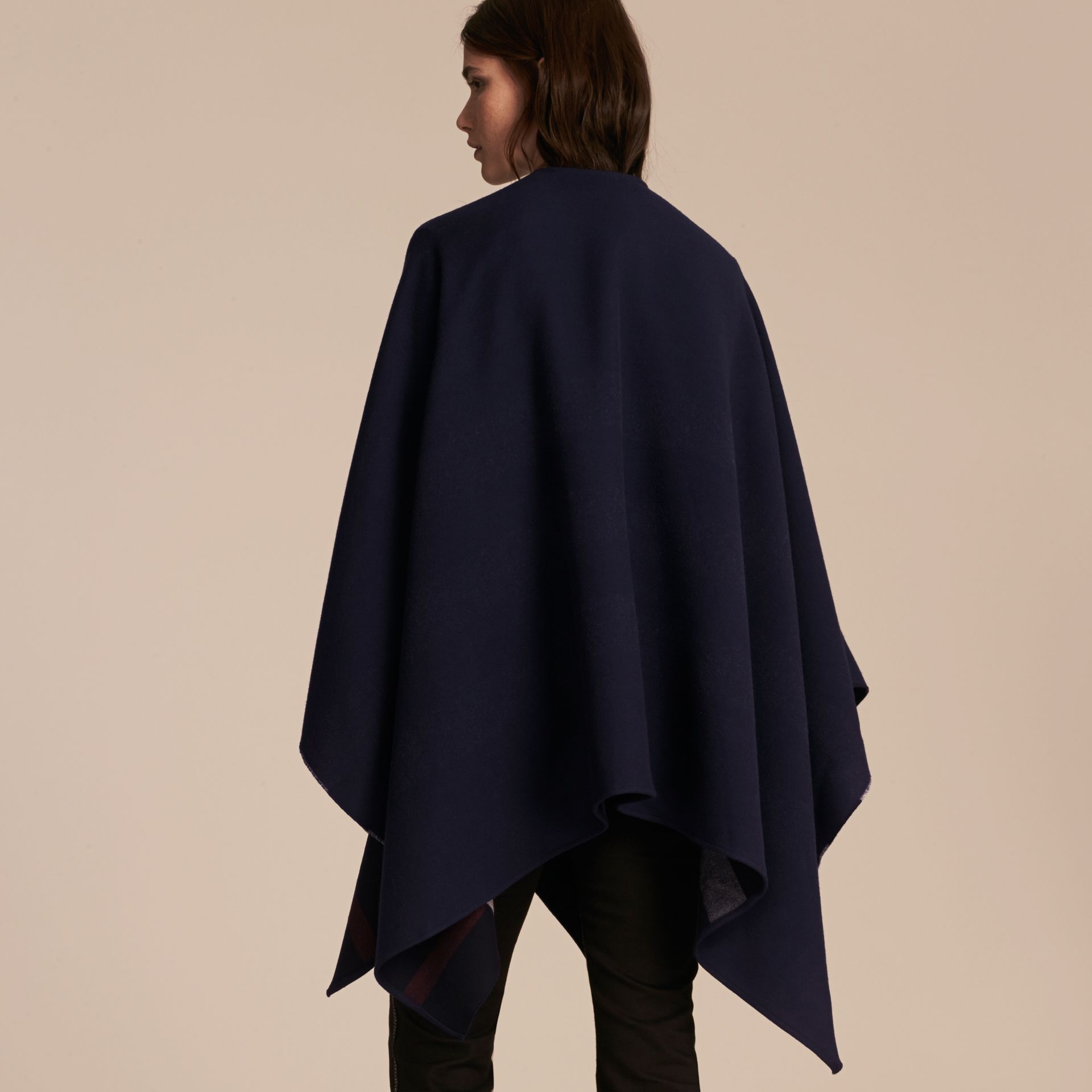 Reversible Check Merino Wool Poncho in Navy - Women | Burberry - gallery image 6