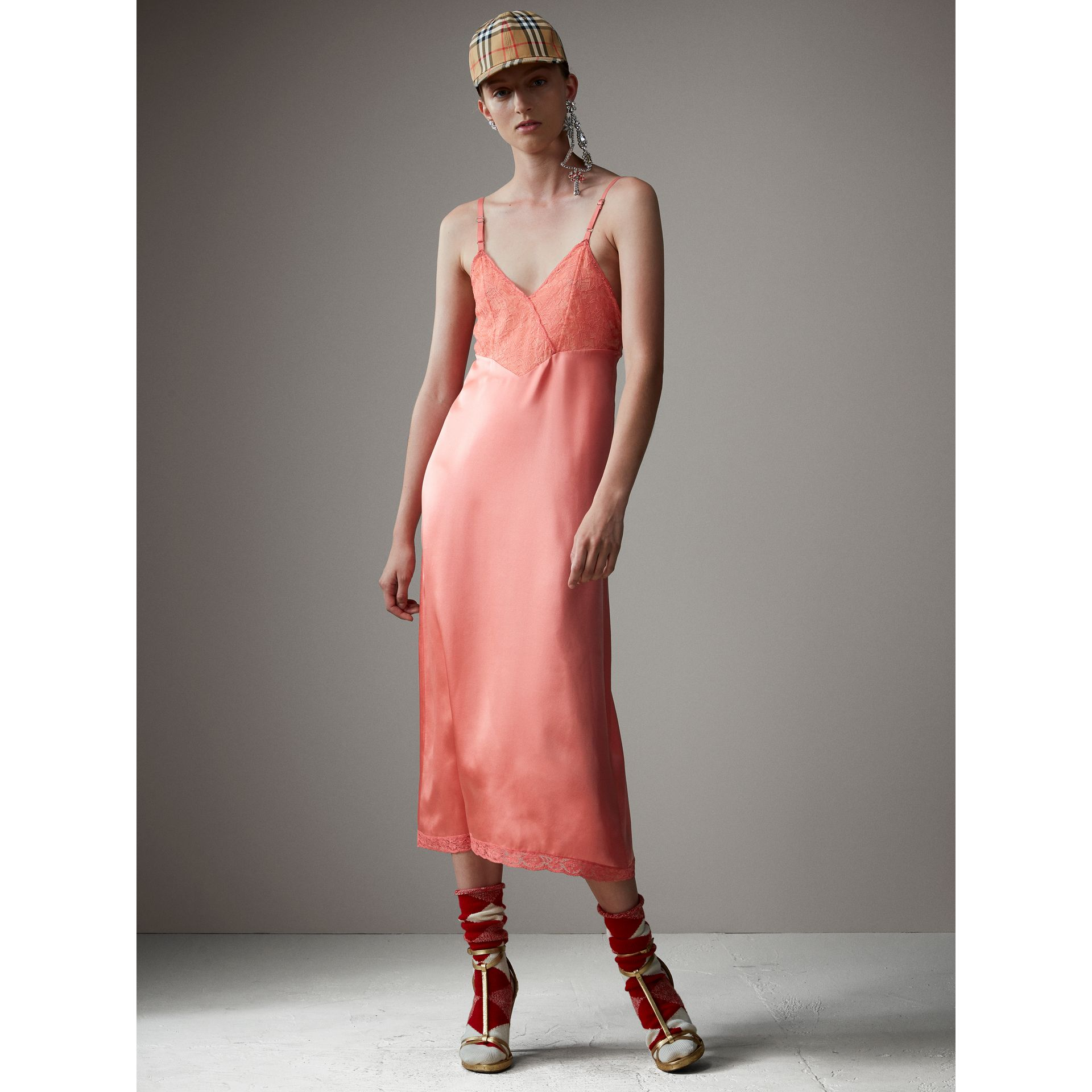 Chantilly Lace Trim Silk Slip Dress in Coral Red - Women | Burberry - gallery image 1