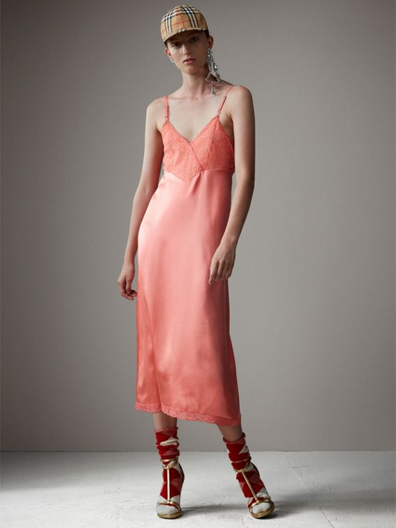 Chantilly Lace Trim Silk Slip Dress in Coral Red
