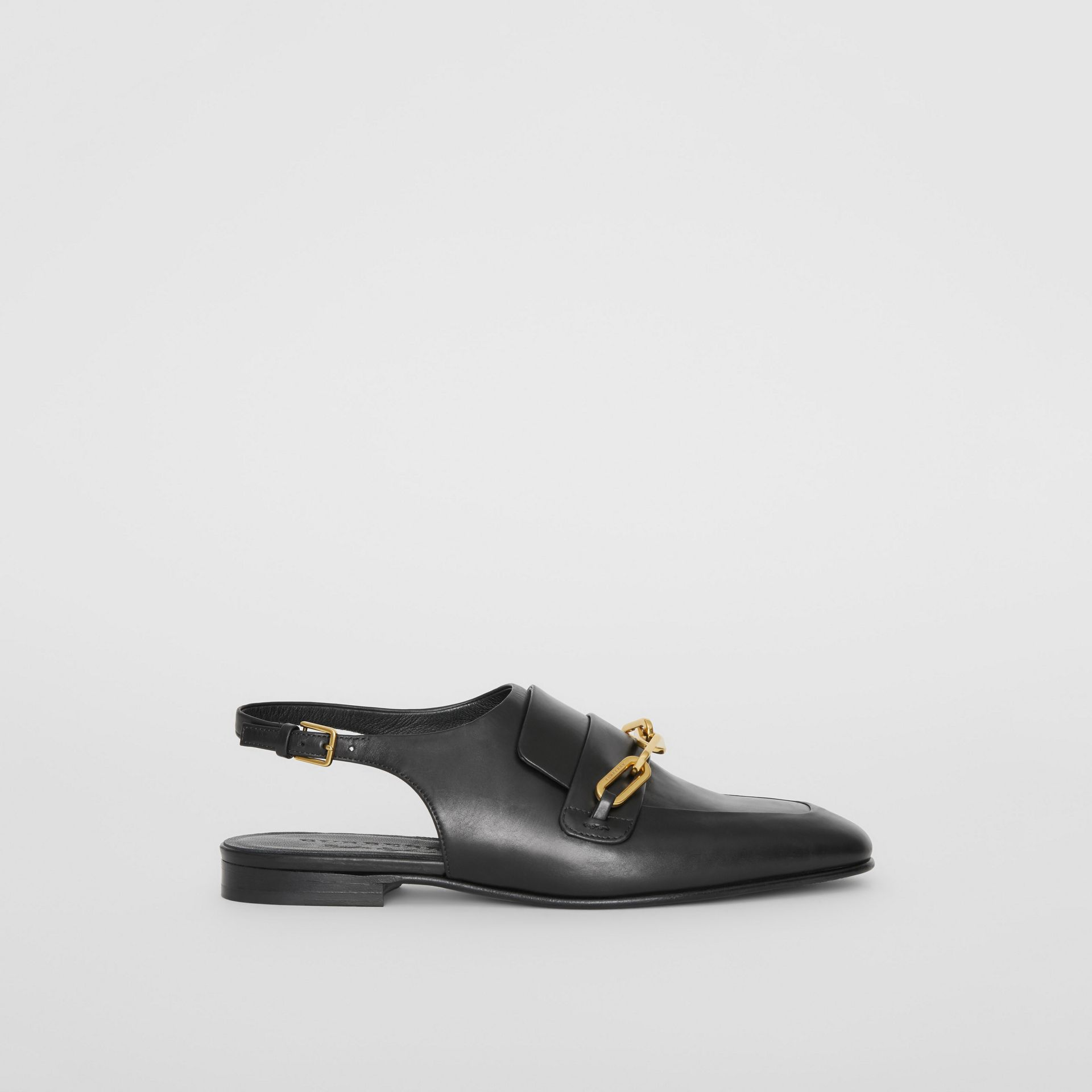 Link Detail Leather Slingback Loafers in Black - Women | Burberry - gallery image 5
