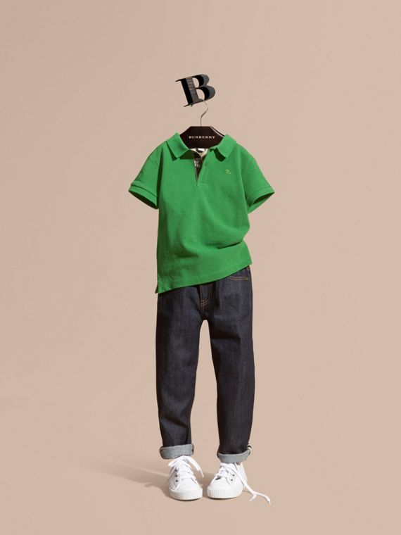 Check Placket Polo Shirt Bright Fern Green