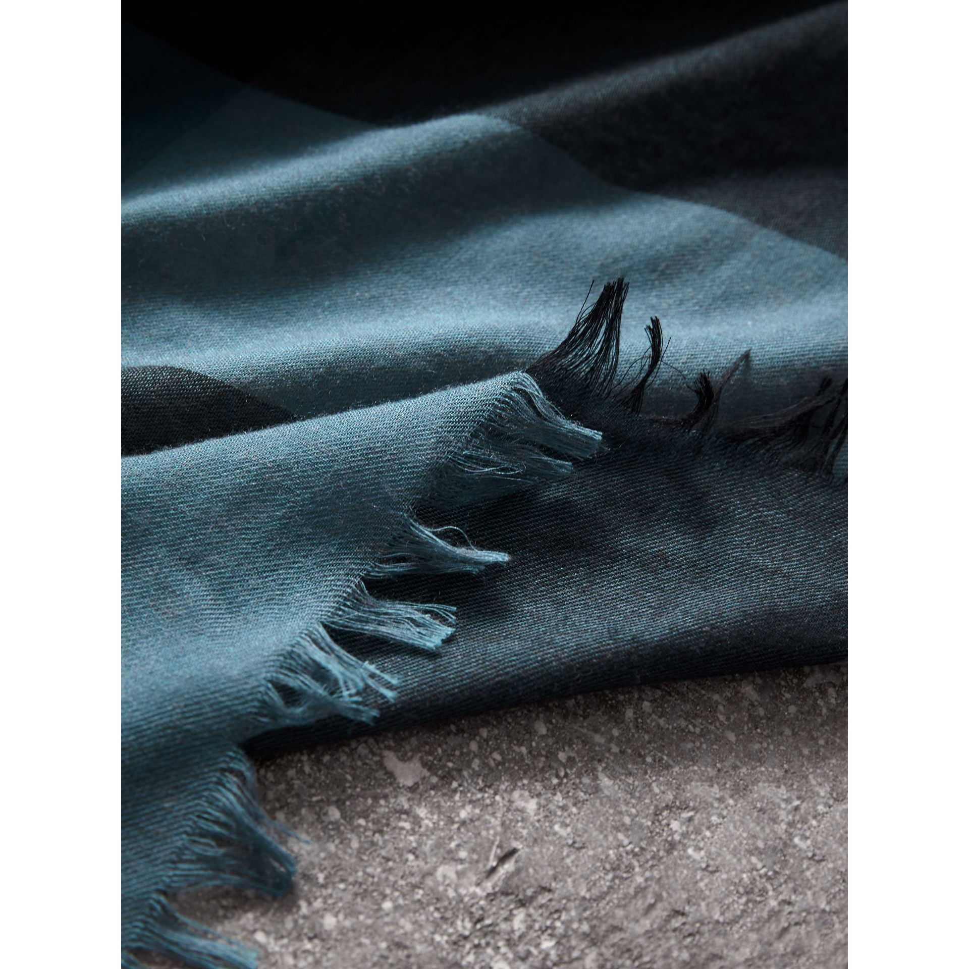 Check Modal Wool Scarf in Dusty Blue - Women | Burberry United Kingdom - gallery image 1