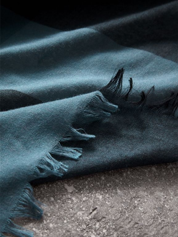 Check Modal Wool Scarf in Dusty Blue - Women | Burberry Australia - cell image 1