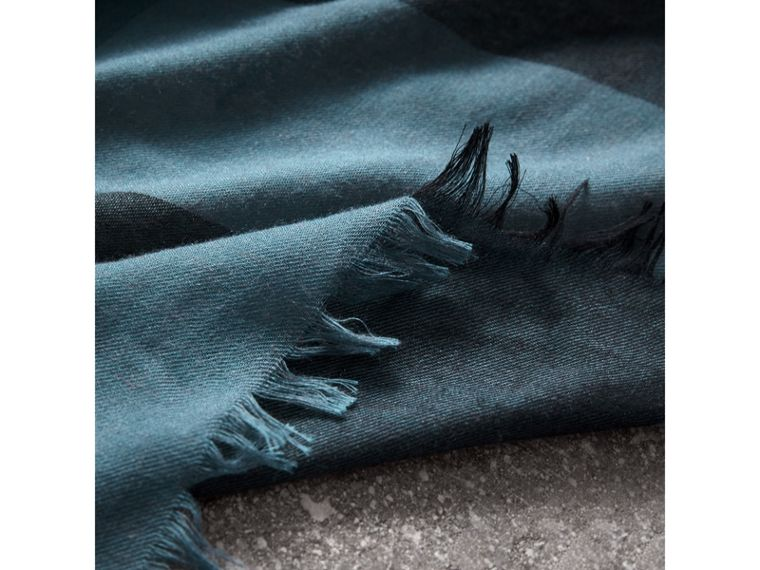 Check Modal Wool Scarf in Dusty Blue - Women | Burberry - cell image 1