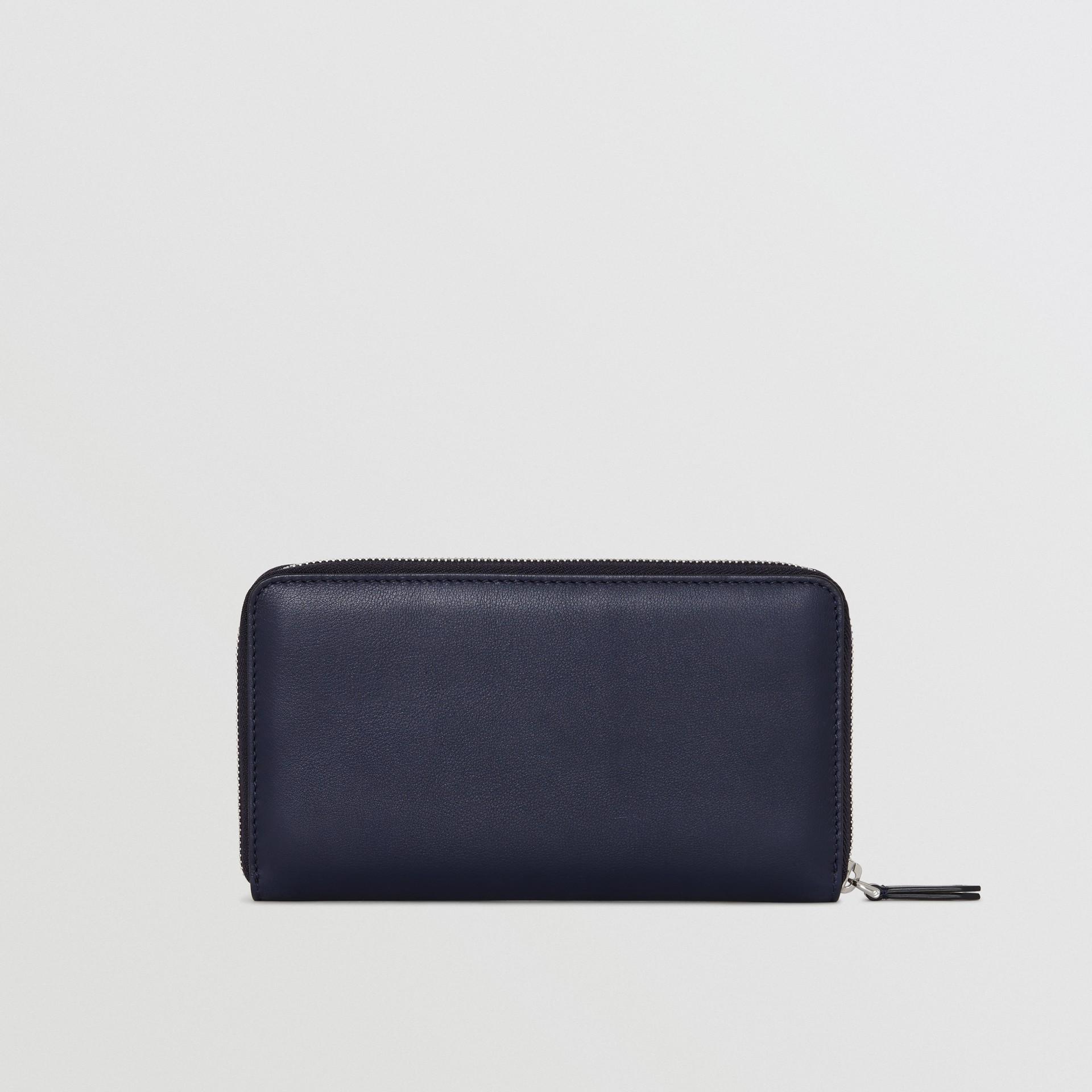 Embossed Crest Leather Ziparound Wallet in Regency Blue - Men | Burberry Australia - gallery image 5