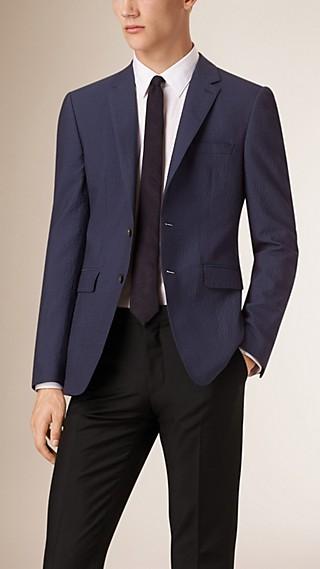 Slim Fit Wool Blend Seersucker Tailored Jacket