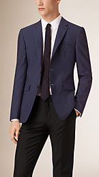 Slim Fit Wool Blend Seersucker Tailored Jacket