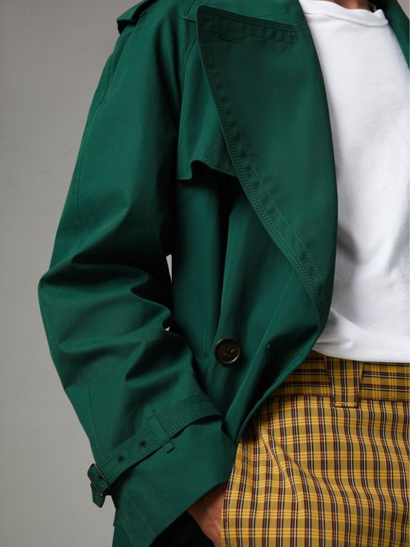 Gun-flap Detail Cotton Gabardine Trench Coat in Deep Veridian Green - Men | Burberry - cell image 1