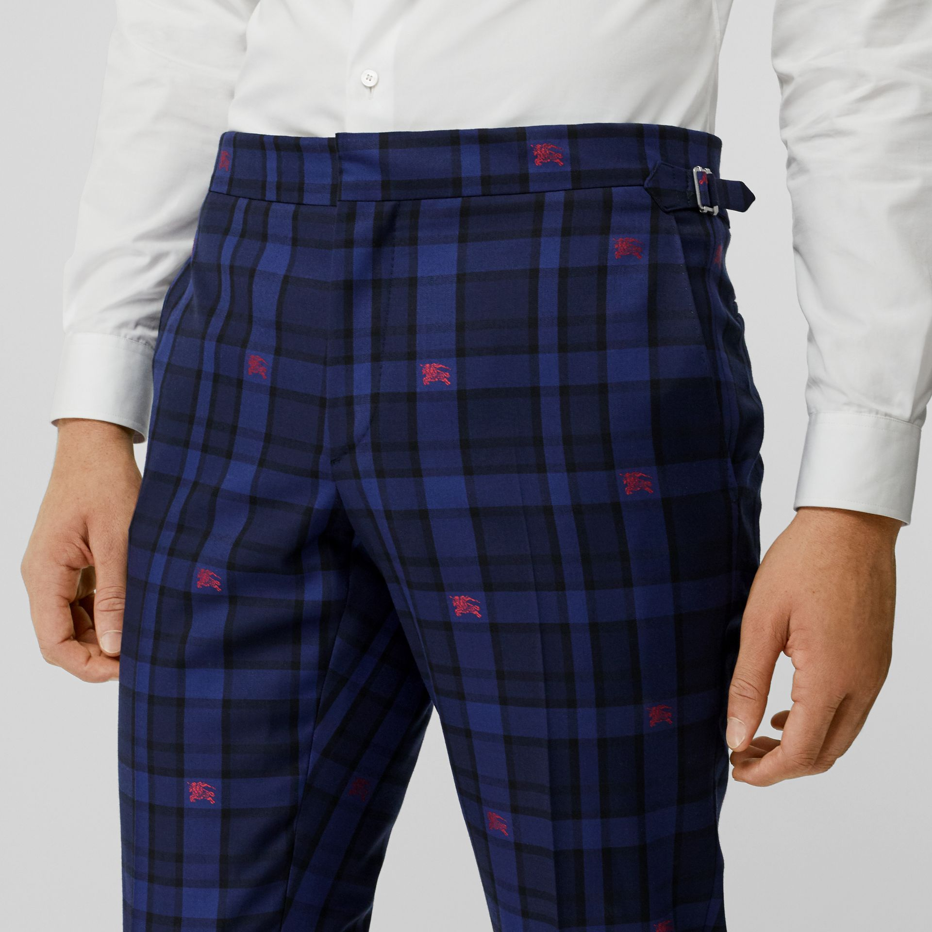 Slim Fit EKD Check Wool Tailored Trousers in Dark Indigo - Men | Burberry - gallery image 1