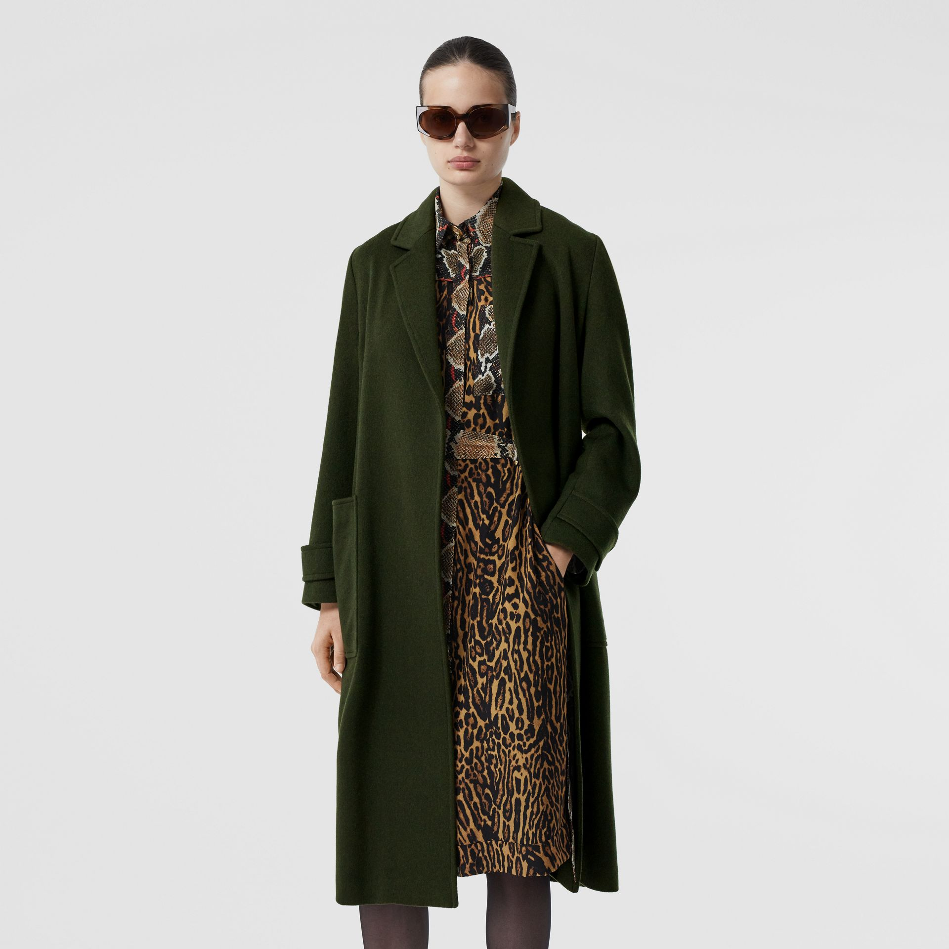 Cashmere Wrap Coat in Forest Green - Women | Burberry - gallery image 5