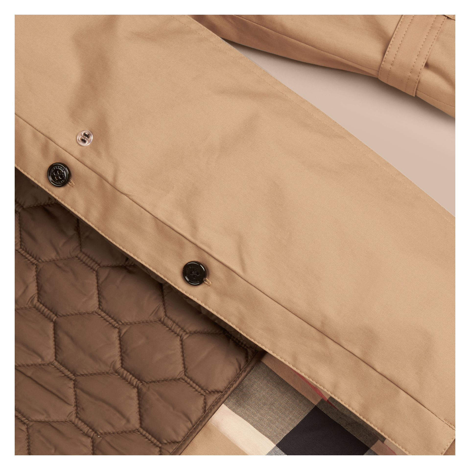 Light camel Hooded Cotton Trench Coat with Warmer Light Camel - gallery image 2