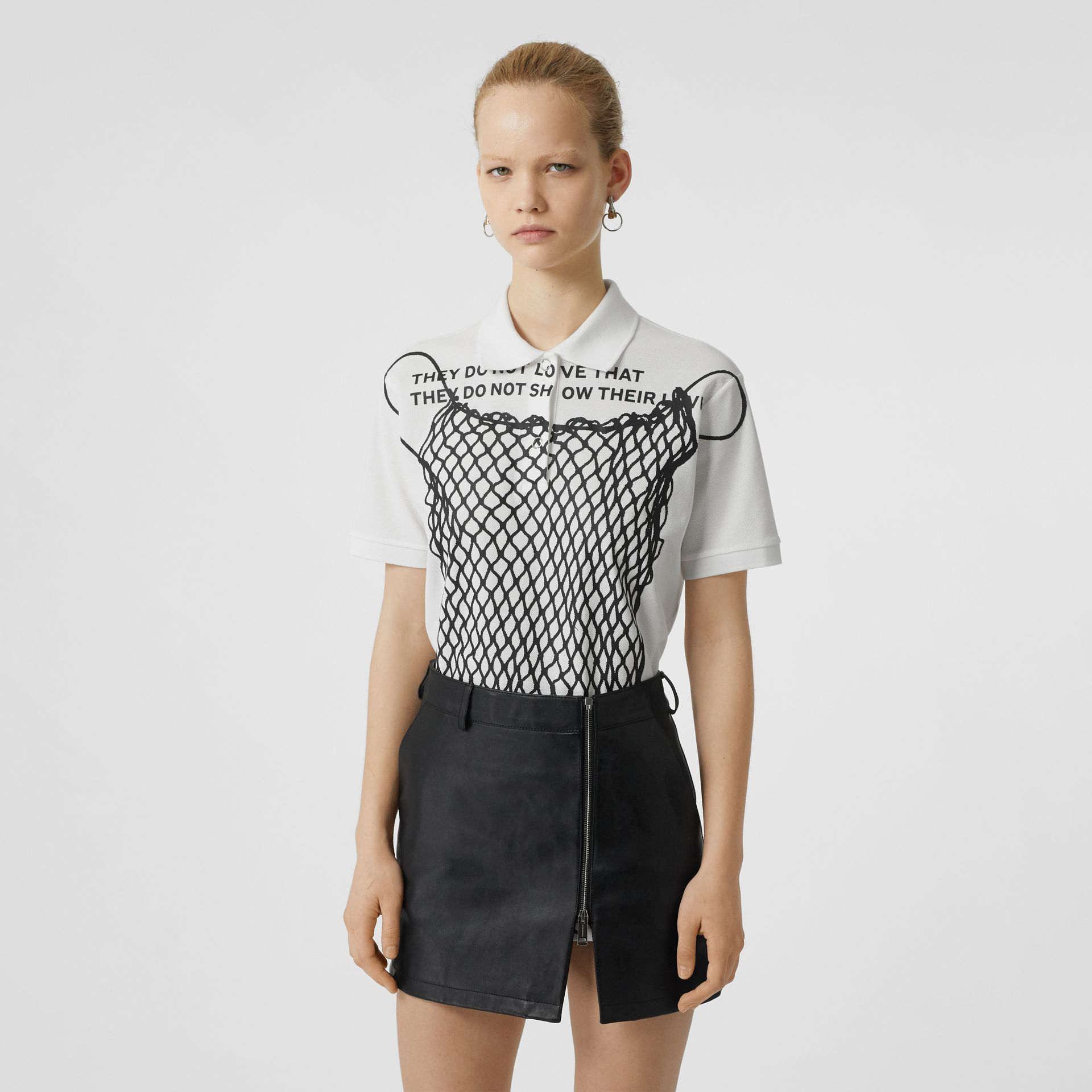 Montage Print Cotton Piqué Polo Shirt in Optic White - Women | Burberry - gallery image 0