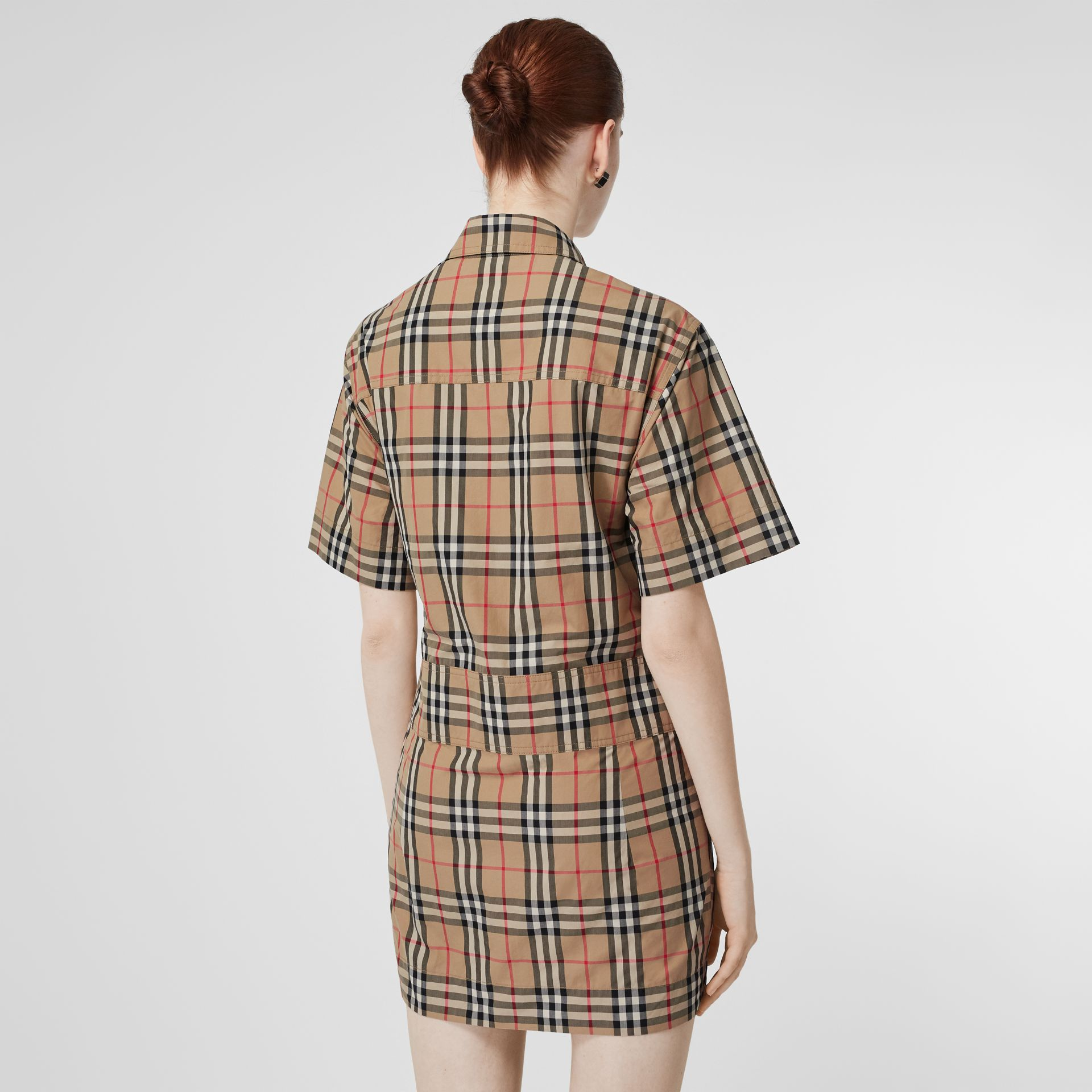 Short-sleeve Vintage Check Shirt Dress in Archive Beige - Women | Burberry - gallery image 2